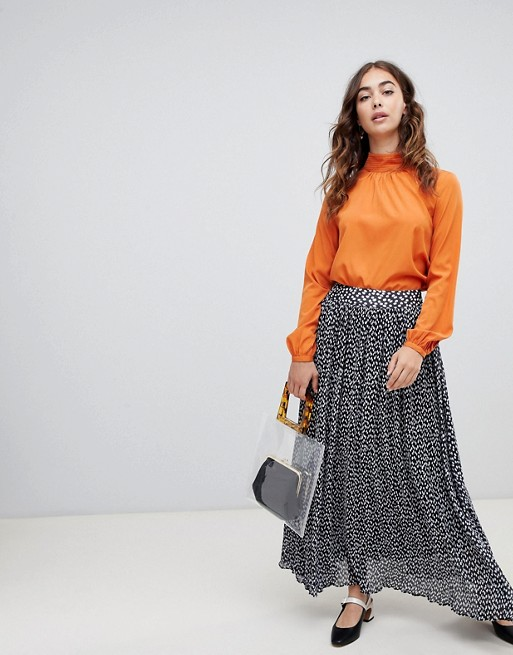 Lost Ink Pleated Midaxi Skirt in Animal Print