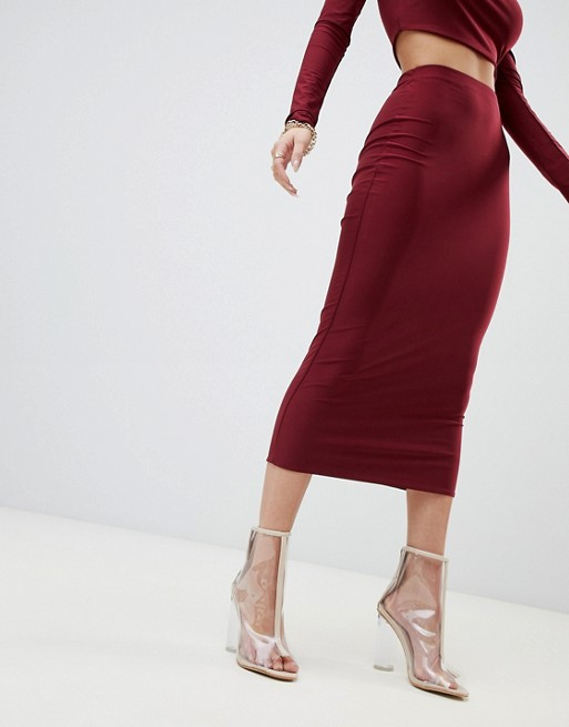 Fashionkilla Bodycon Midaxi Skirt in Berry