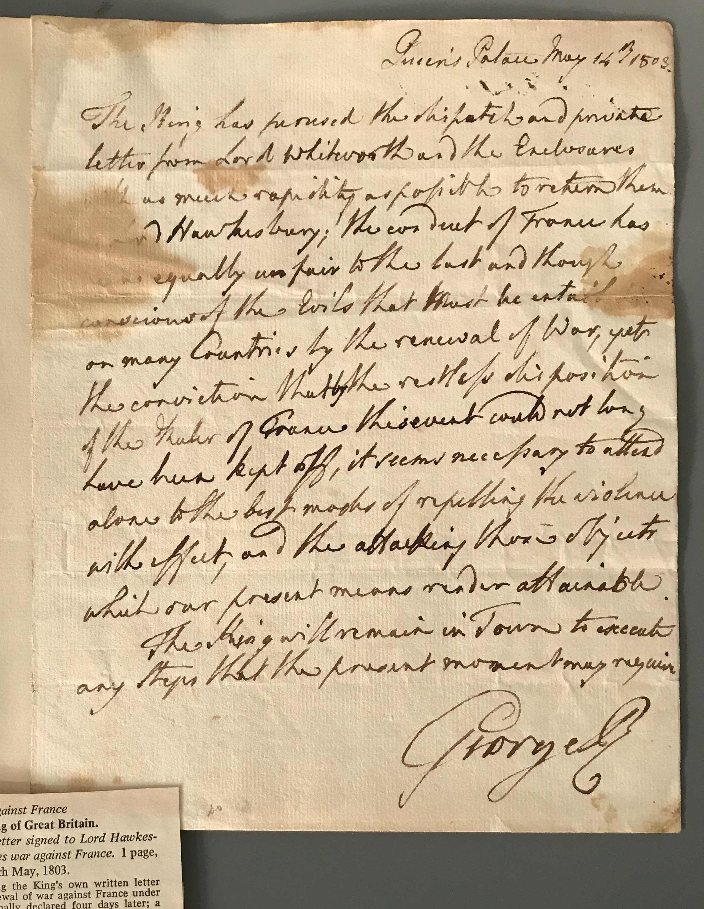 The letter from King George III