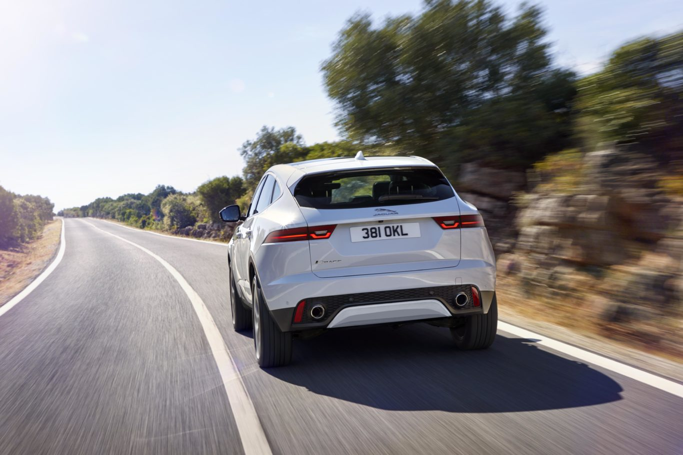 The rear-end styling of the E-Pace has been designed to reflect that of the F-Type sports car