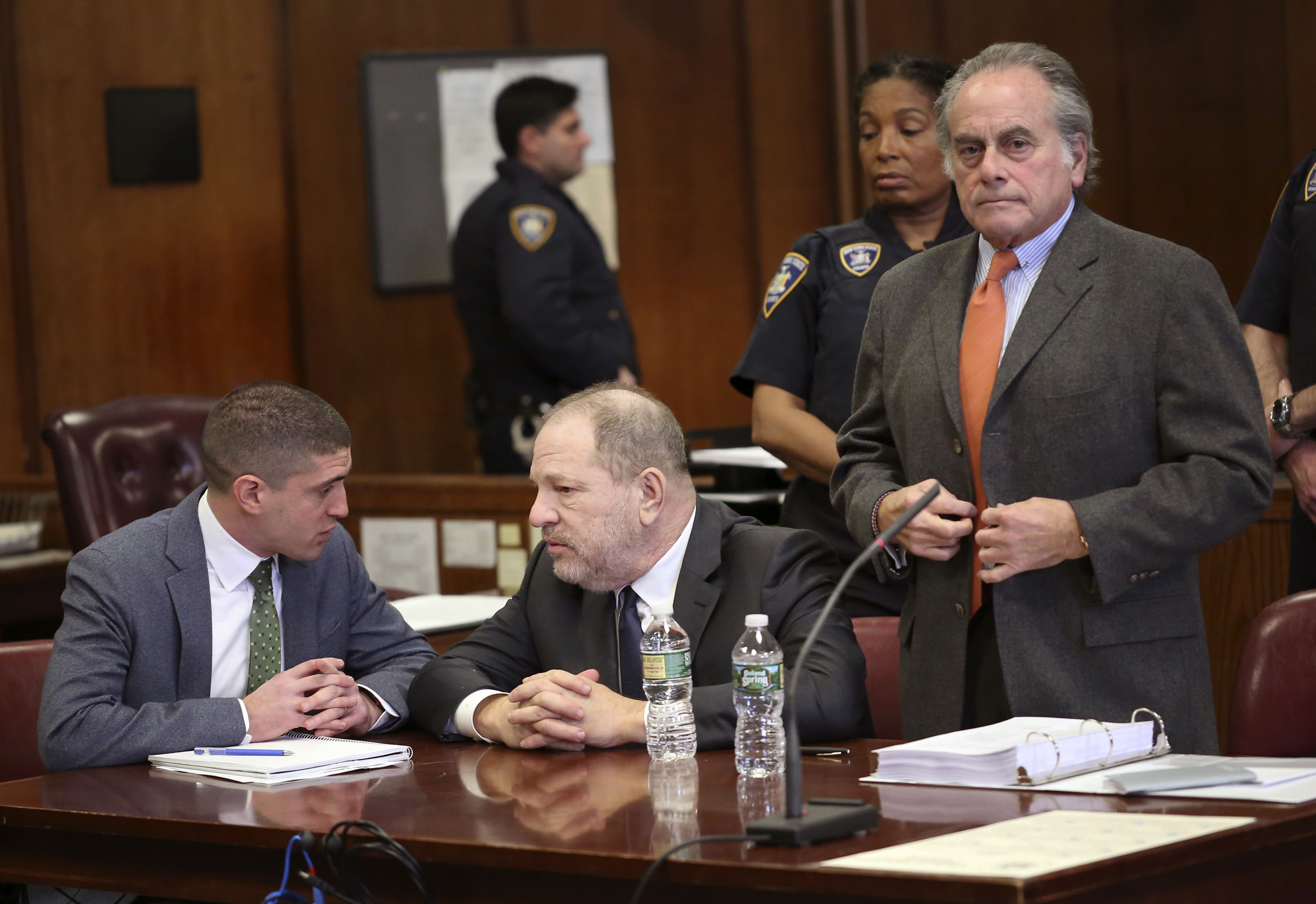 Harvey Weinstein, centre, and his lawyer Benjamin Brafman, right, make an appearance at New York Supreme Court