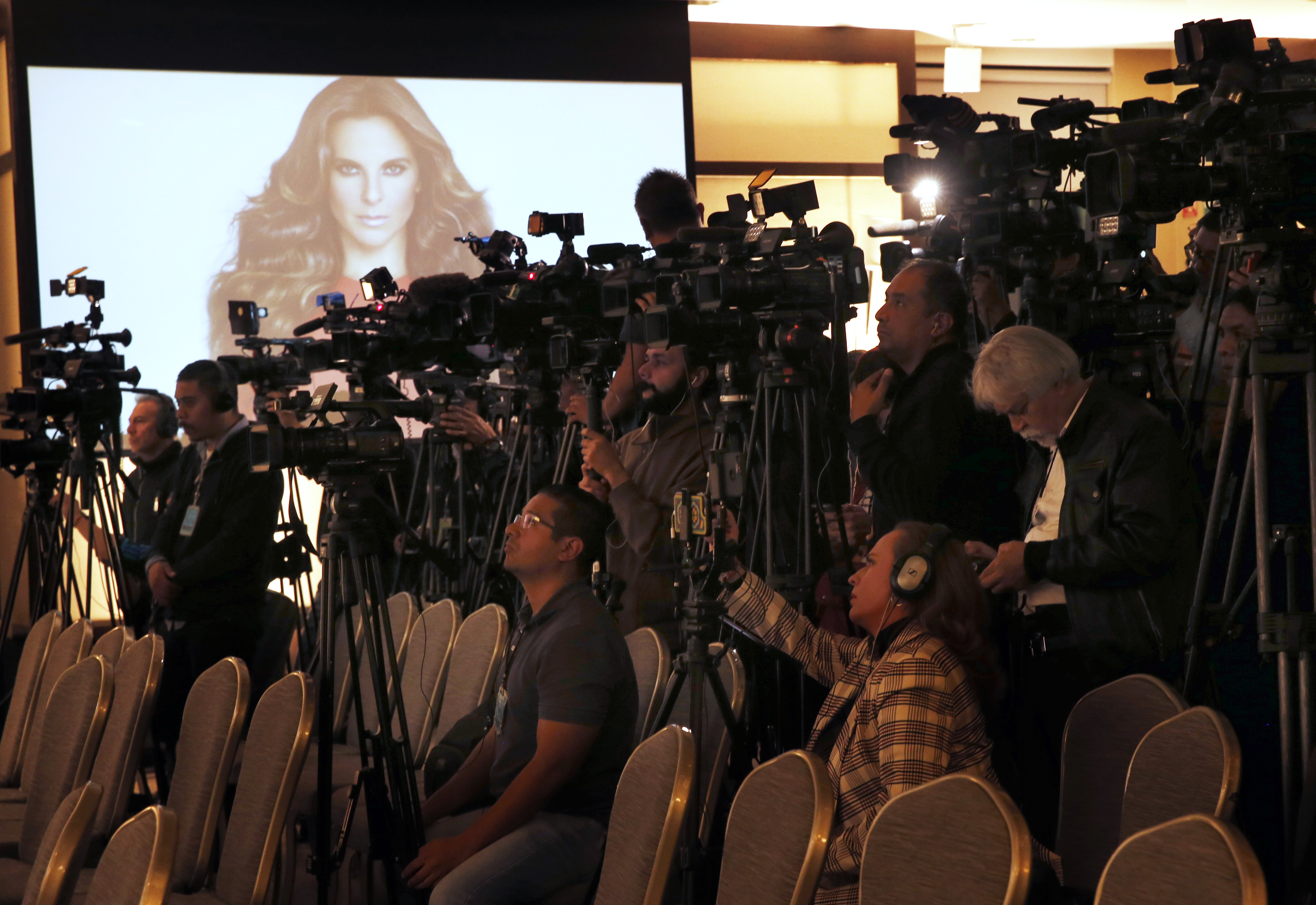Members of the press cover a press conference by Kate del Castillo in Mexico City