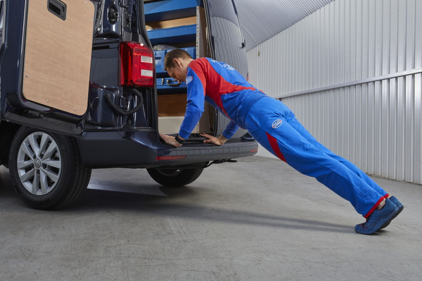 Even press-ups can be undertaken with the help of a van