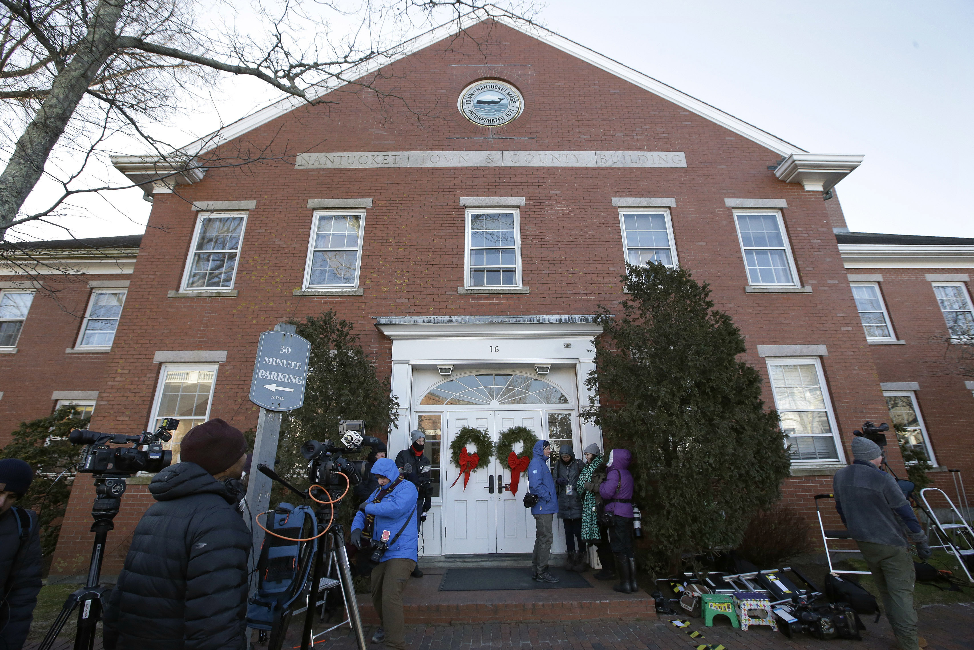 Members of the media outside the Nantucket Town & County Building, awaiting arrival of actor Kevin Space