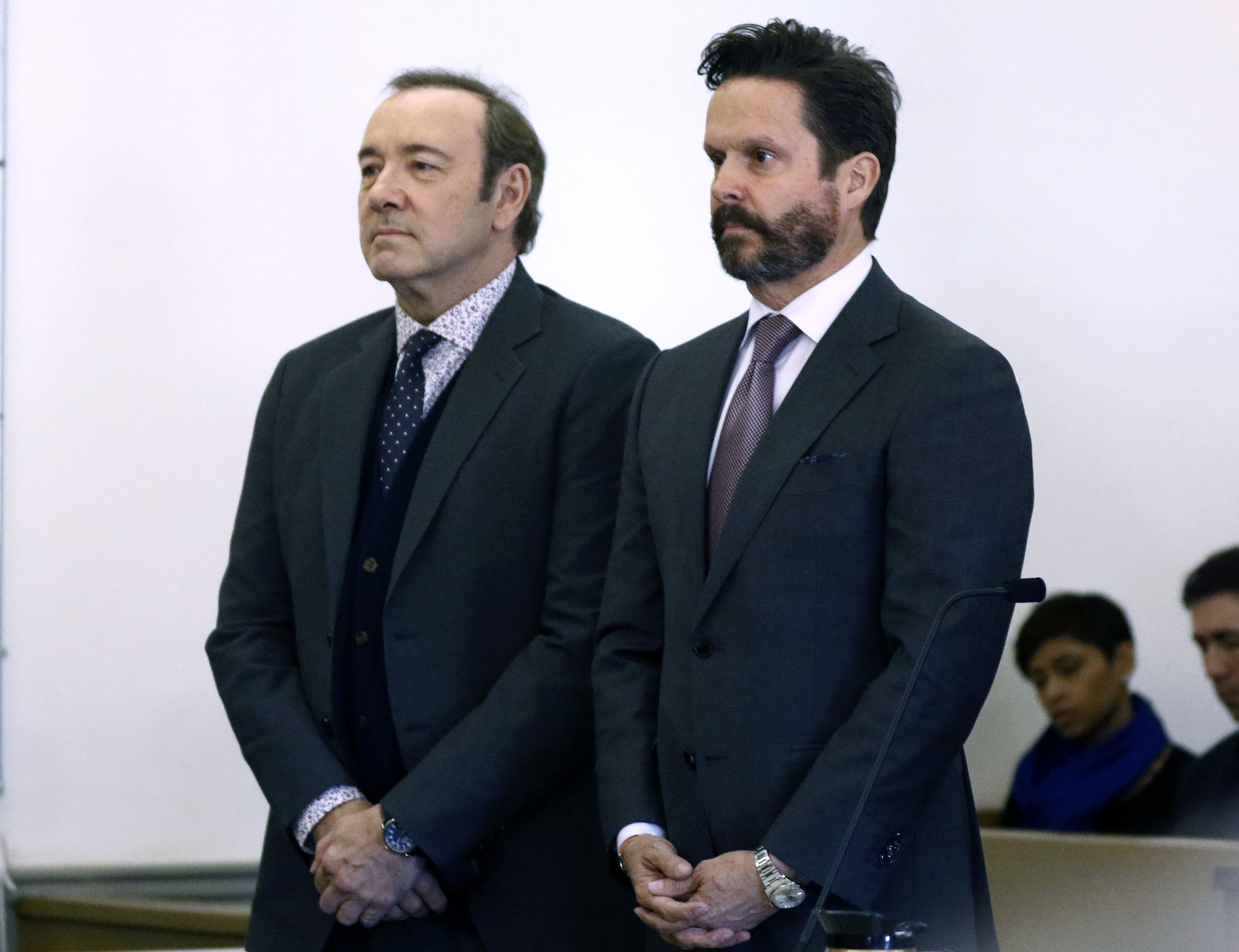 Kevin Spacey with his lawyer Alan Jackson in district court in Nantucket, Massachusetts