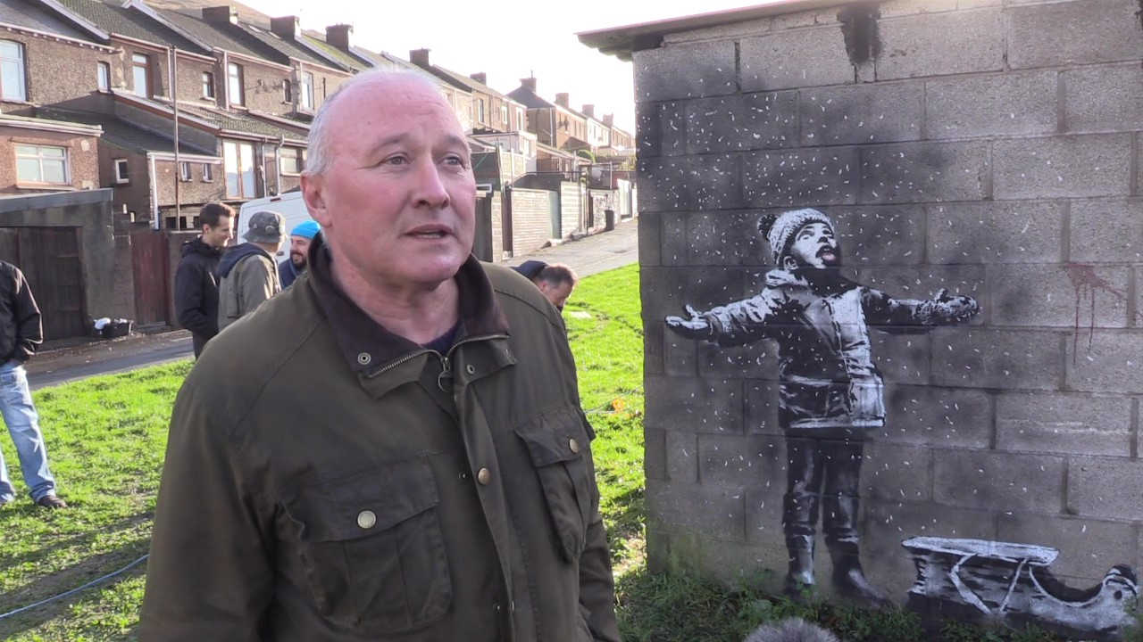 Ian Lewis, owner of garage used by Banksy for latest artwork, taken by Adam Hale