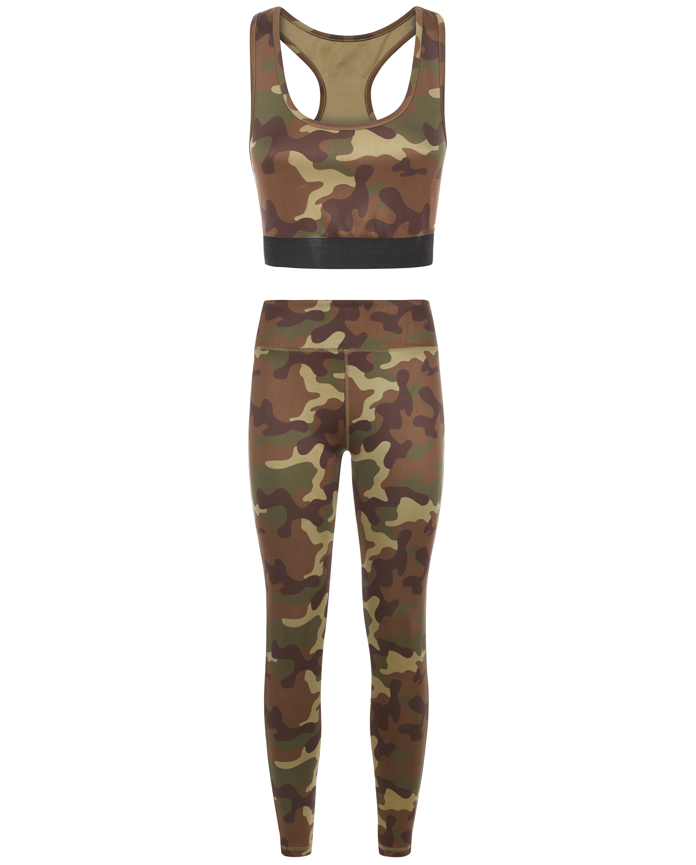 model wearing New Look Khaki Camo Print Sports Bralette; Khaki Camo Print Sports Leggings