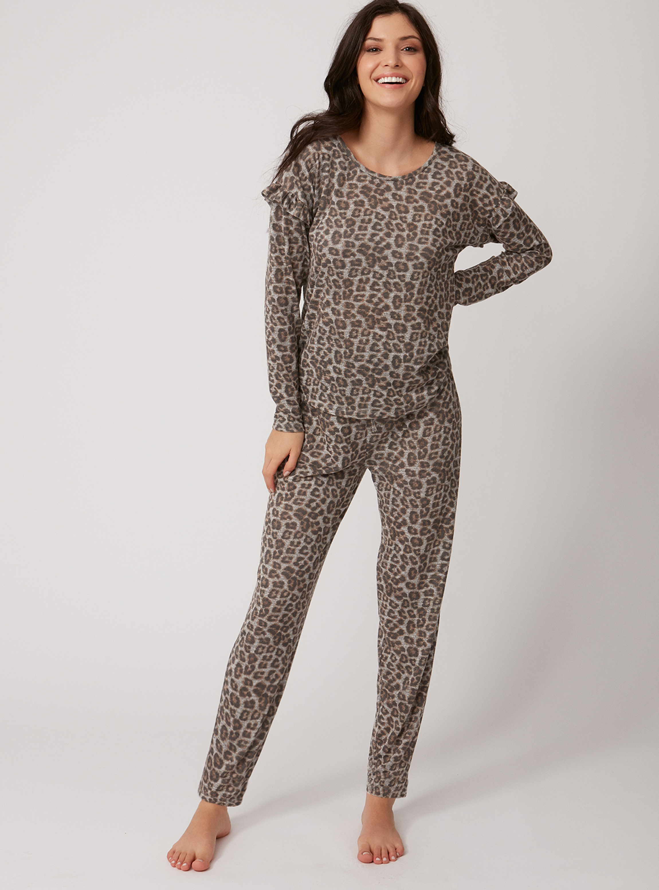 model wearing Boux Avenue Leopard Twosie