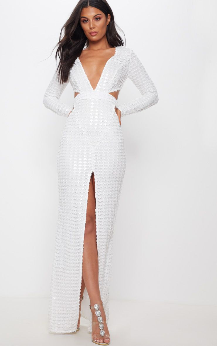 PrettyLittleThing White Metallic Detailed Cut Out Plunge Maxi Dress