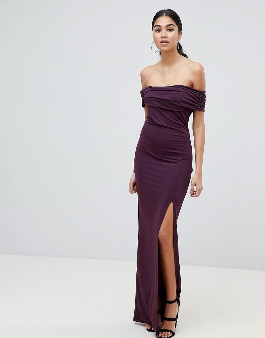 AX Paris Plum Bardot Maxi Dress