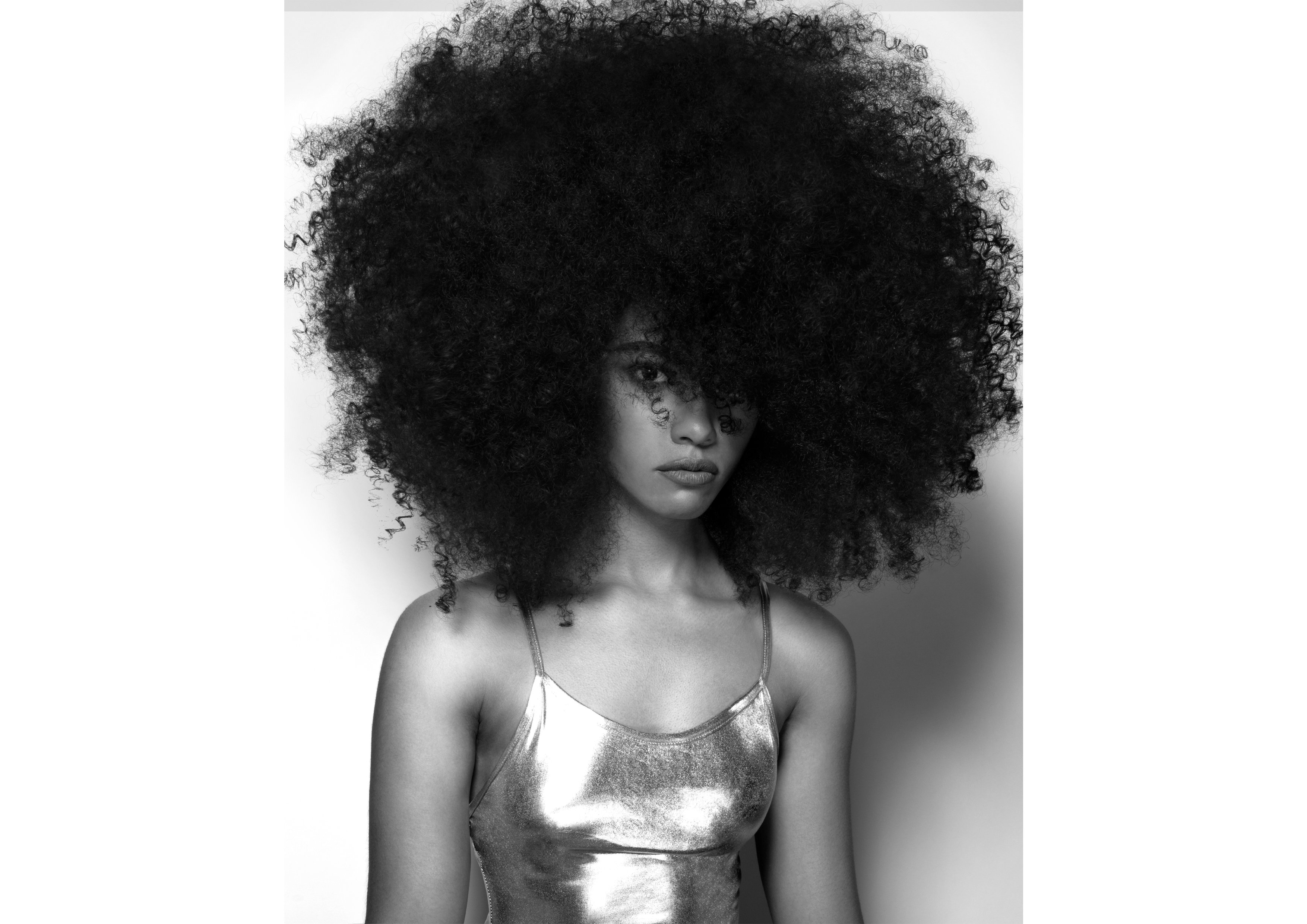 A woman with a large afro