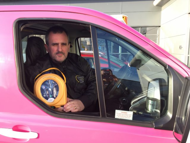 Stephen Lalley, a driver for Glasgow Taxis, who now carries a defibrillators in his car