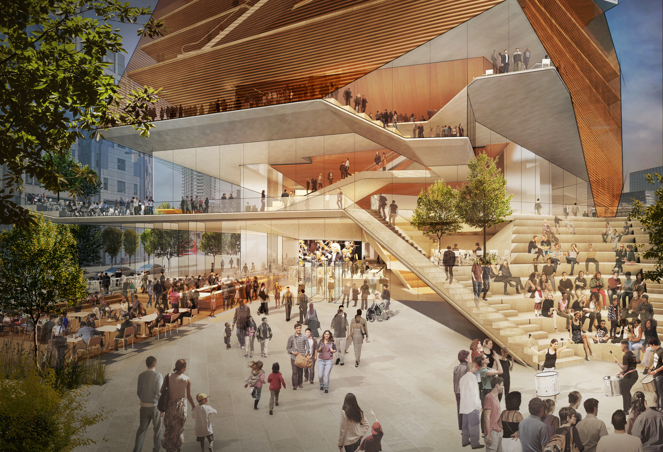 Concept design for the entry plaza of the Centre For Music