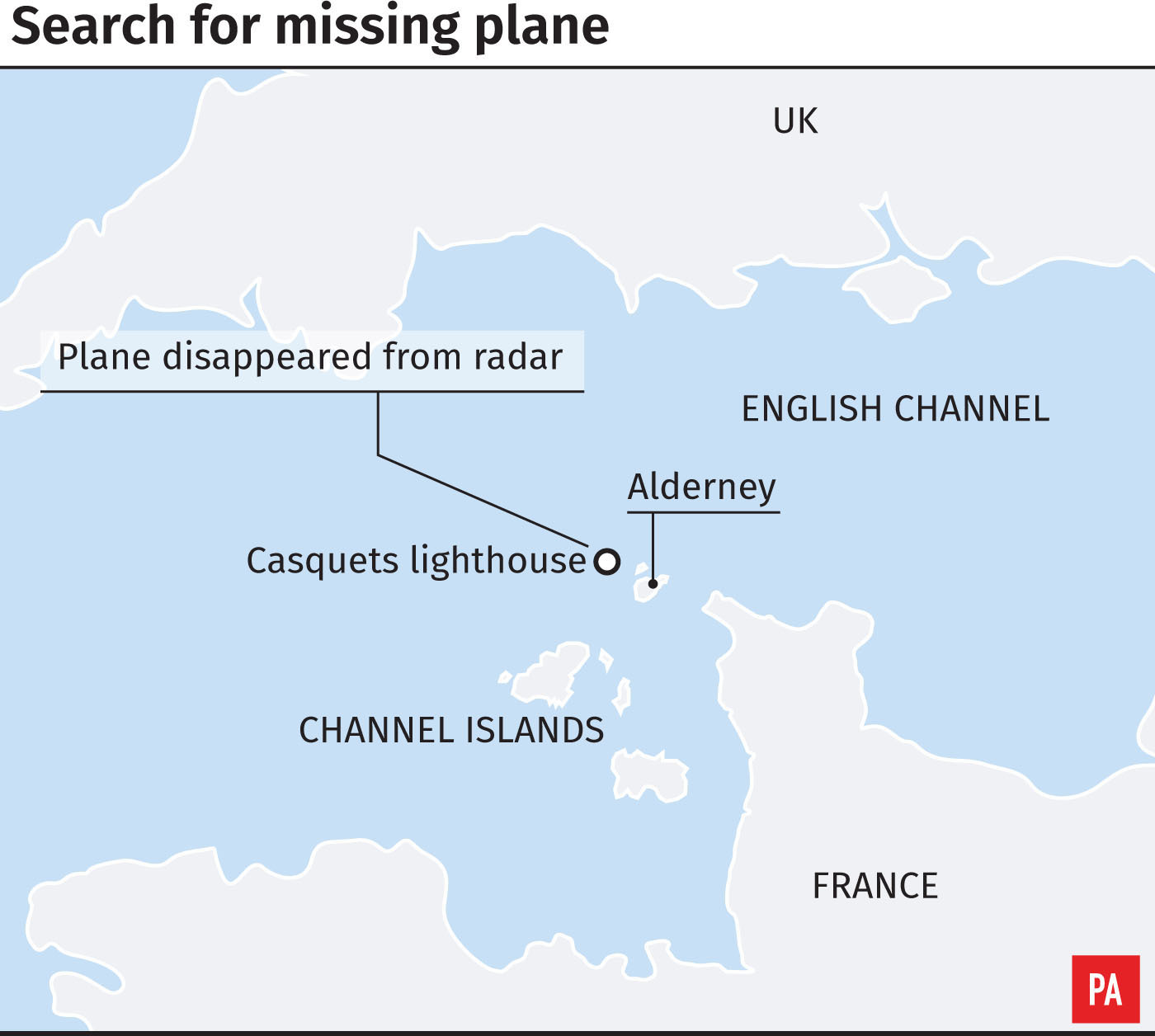 Graphic locates search for a missing aircraft near Alderney in the Channel Islands