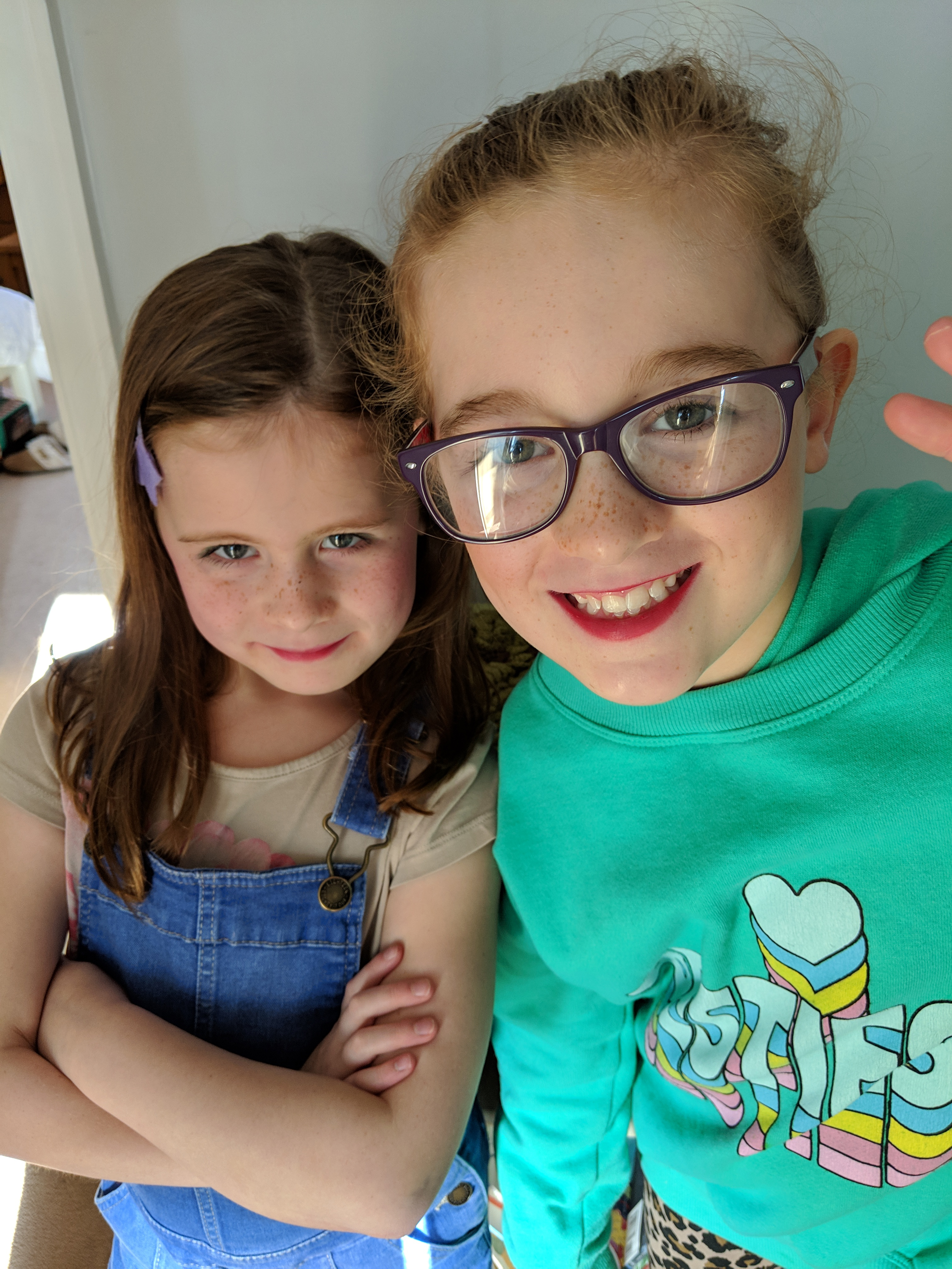 Writer Claire Spreadbury's two daughters, Poppy and Rosie
