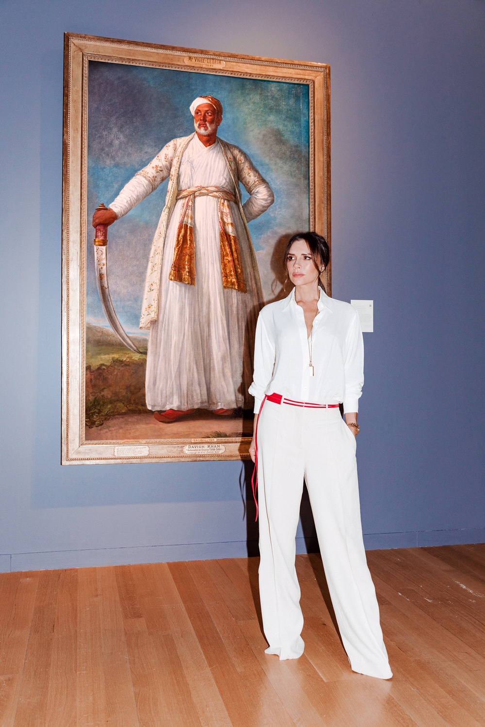 Victoria Beckham is photographed at Sotheby's in New York for the launch of The Female Triumphant