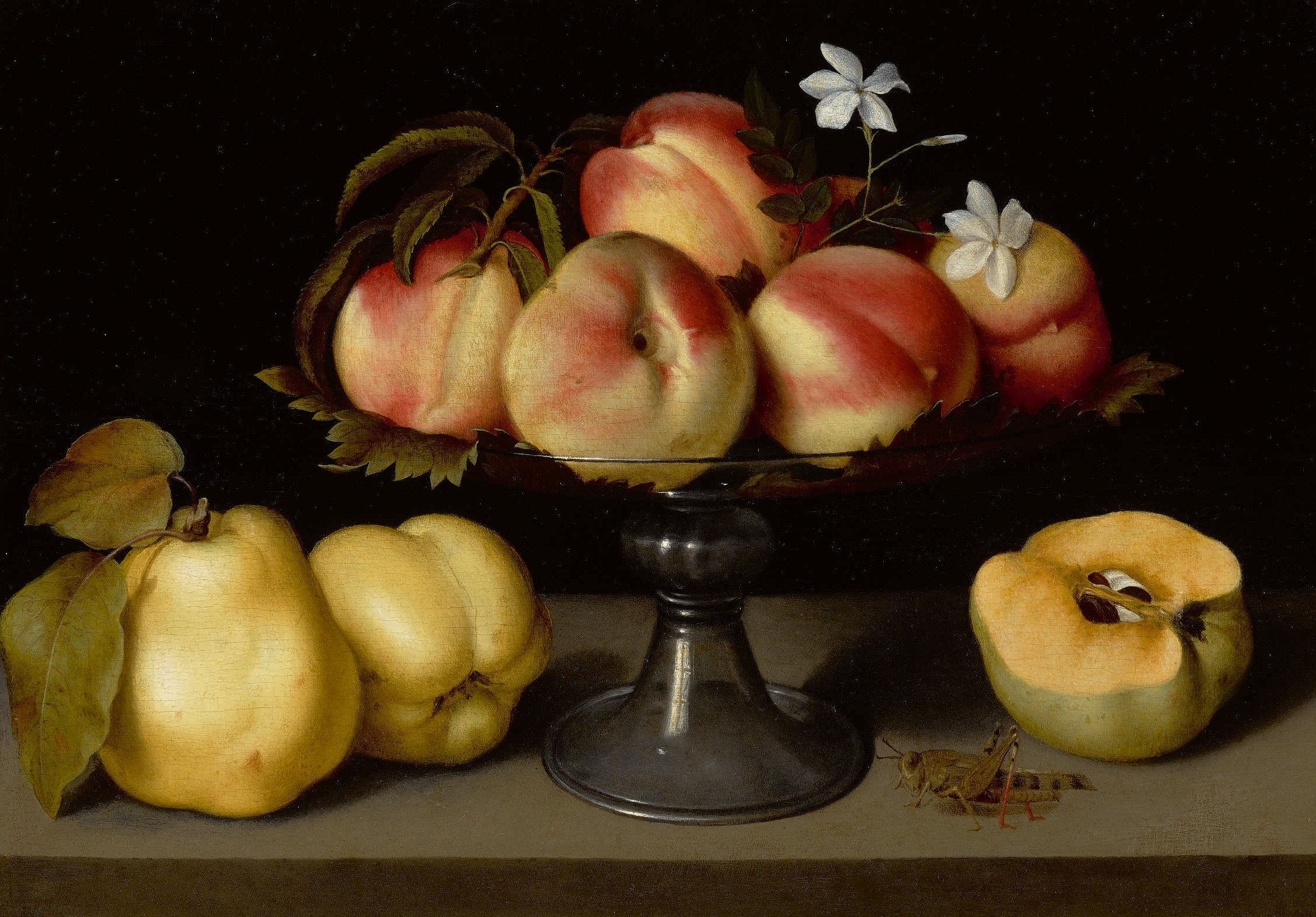 Fede Galizia, A Glass Compote With Peaches, Jasmine Flowers, Quinces, And A Grasshopper, part of Sotheby's sale The Female Triumphant