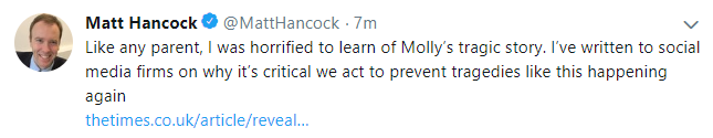 Screengrab of Matt Hancock tweet