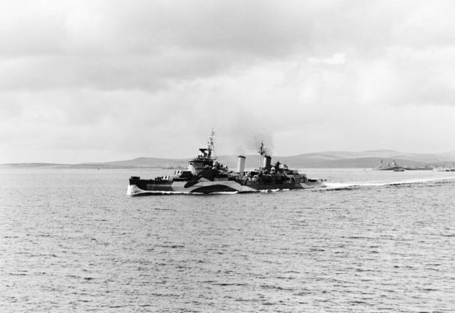 HMS Belfast leaving Scapa Flow for the Normandy beaches, June 1944 (IWM/PA)