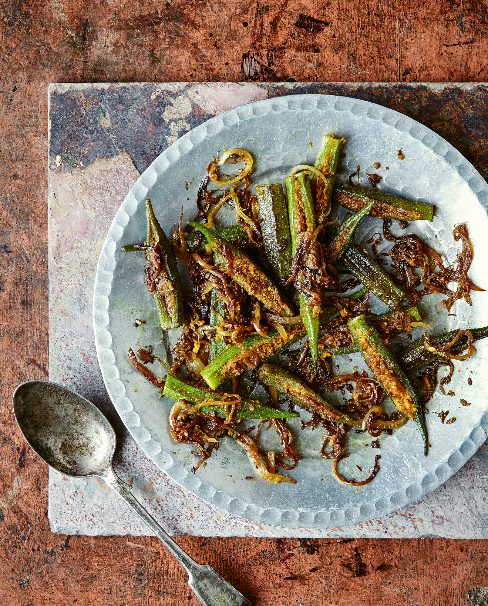 Spicy stuffed okra from Chetna's Healthy Indian by Chetna Makan (Nassima Rothacker/PA)