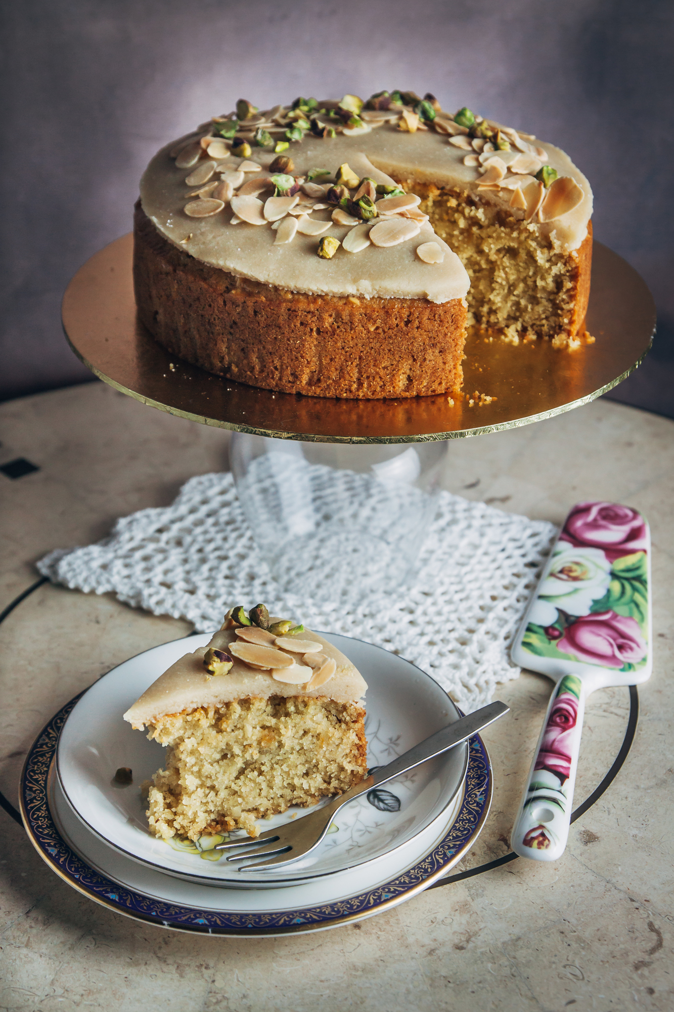 Almond and semolina sugee cake from Jackfruit and Blue Ginger by Sasha Gill (Sasha Gill/PA)