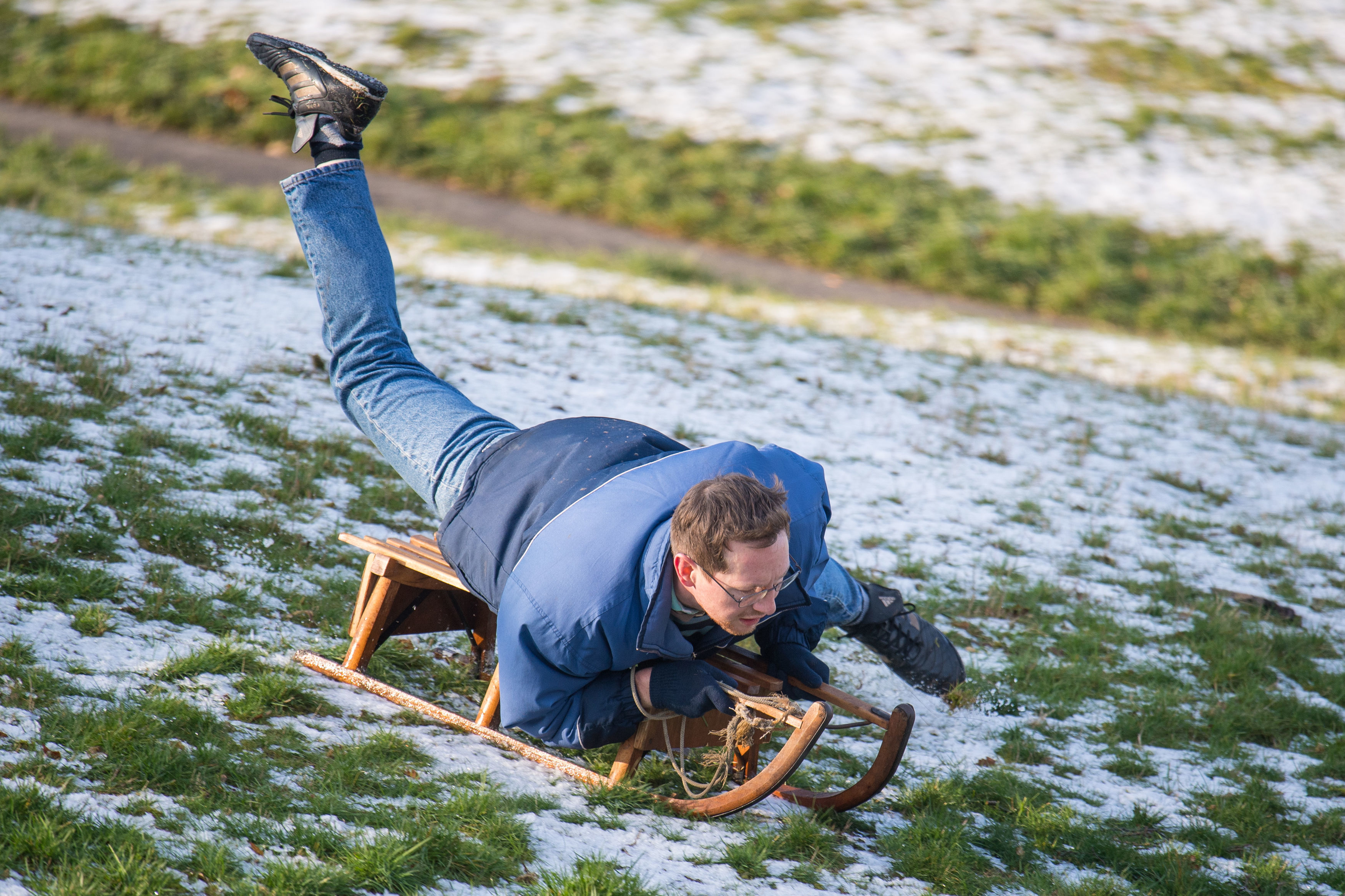 Man sledging in London