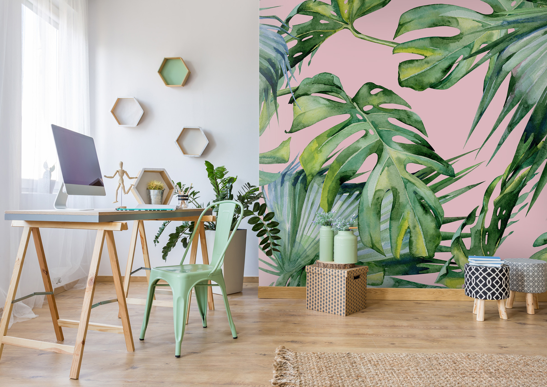 Pink Jungle Wallpaper, from £26 per square metre, Wallsauce (Wallsauce/PA)