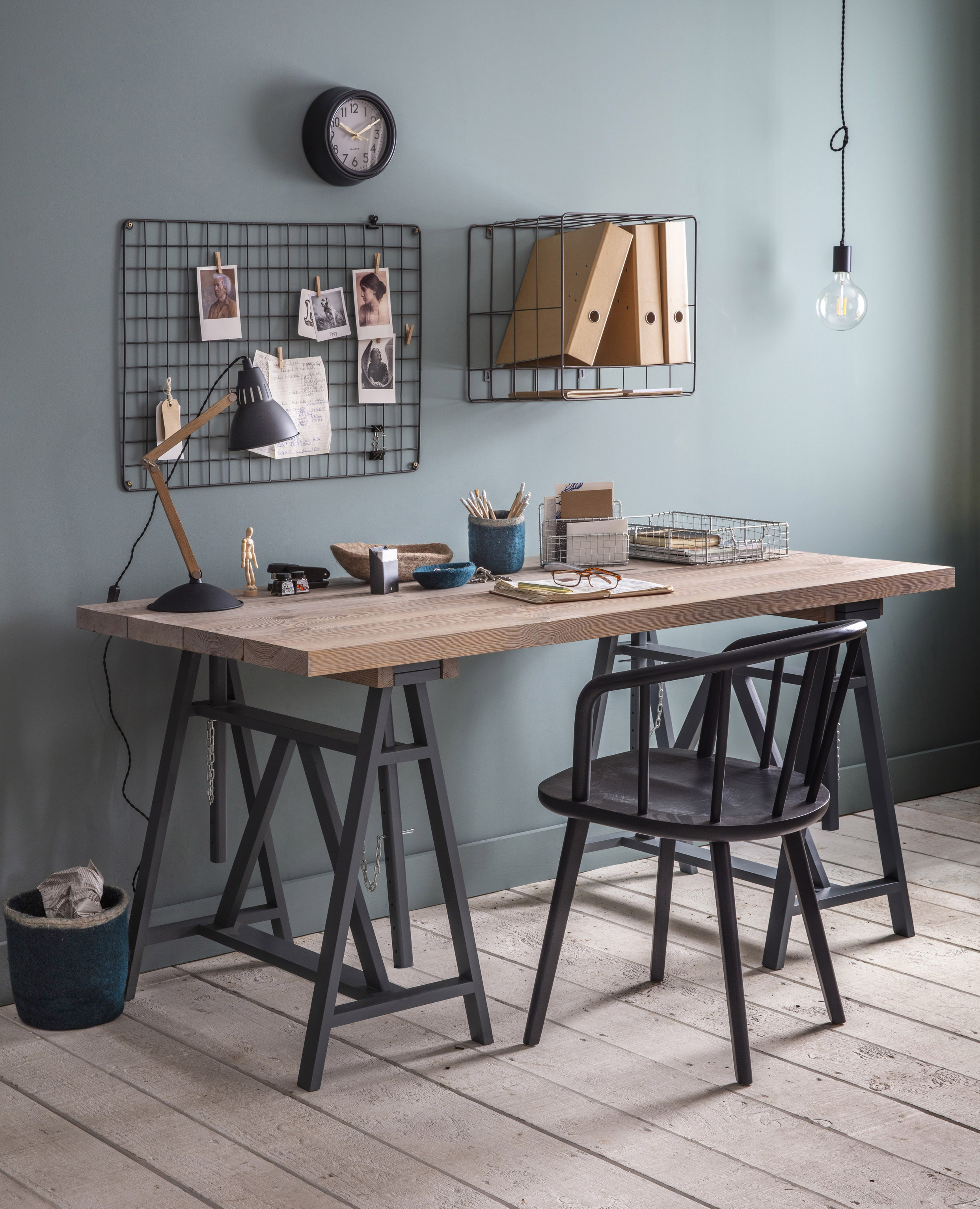 Workshop Trestle Desk, £550; Carver Chair, £195; Farringdon Memo Board, £30; Greenwich Clock, from £25; Bermondsey Table Light, £100, Garden Trading (Garden Trading/PA)