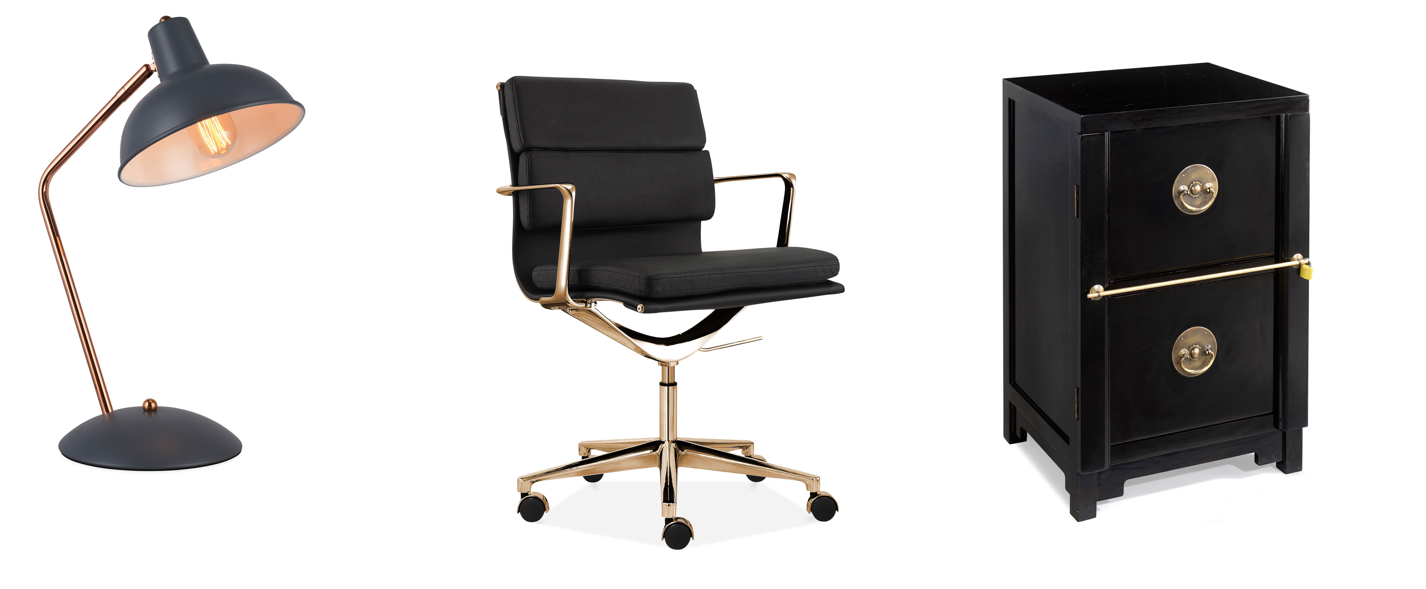 (L-R) Maya Metal Desk Lamp, Grey & Copper, £39, Cult Furniture; Soft Padded Office Chair, with Short Back, Black/Gold, £239, Cult Furniture; Two Drawer Filing Cabinet, Black Lacquer, £475, Shimu (Cult Furniture/Shimu/PA)