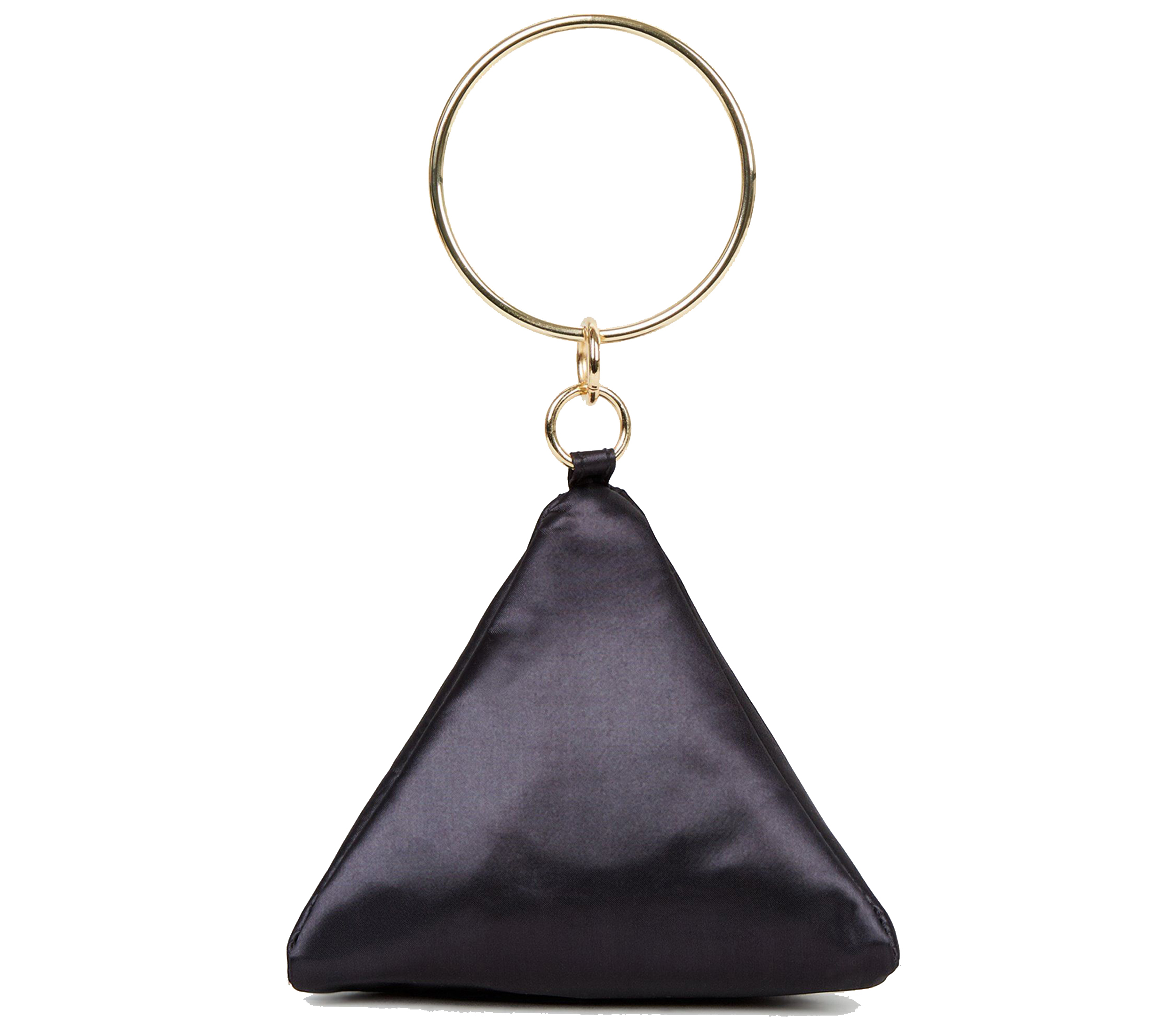 New Look Black Satin Triangle Clutch Bag