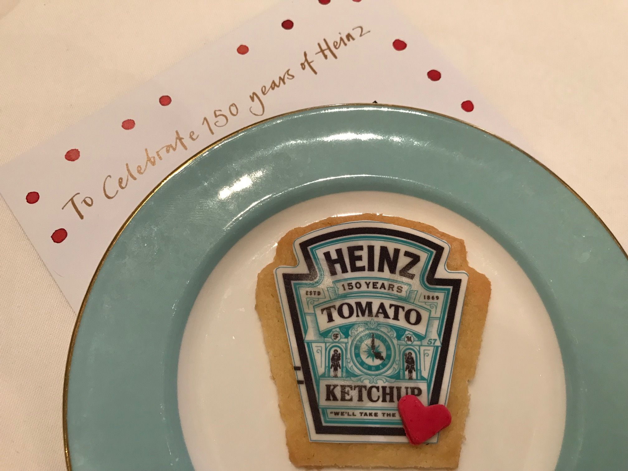Fortnum & Mason cookie in shape of Heinz label