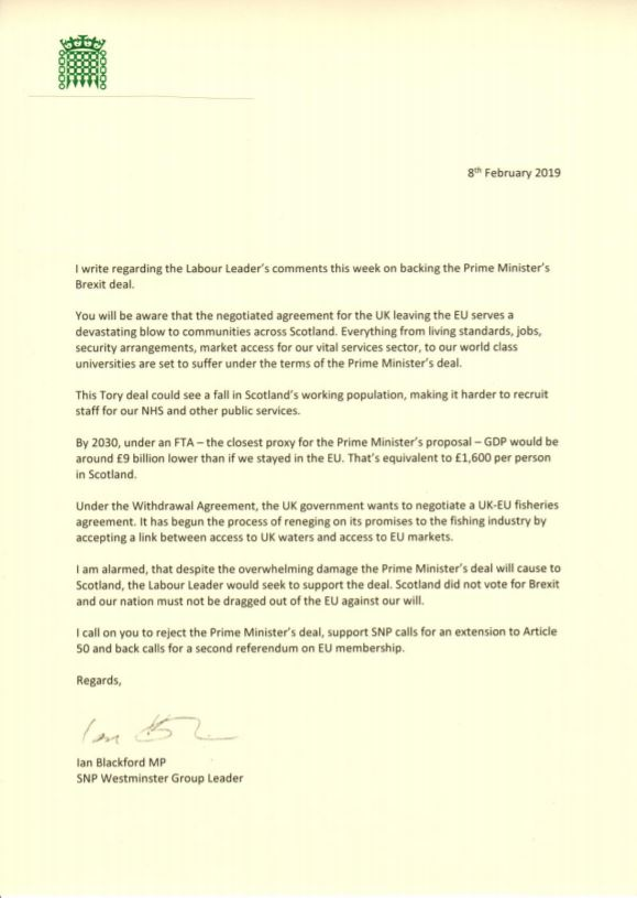 Letter from Ian Blackford to Scottish Labour