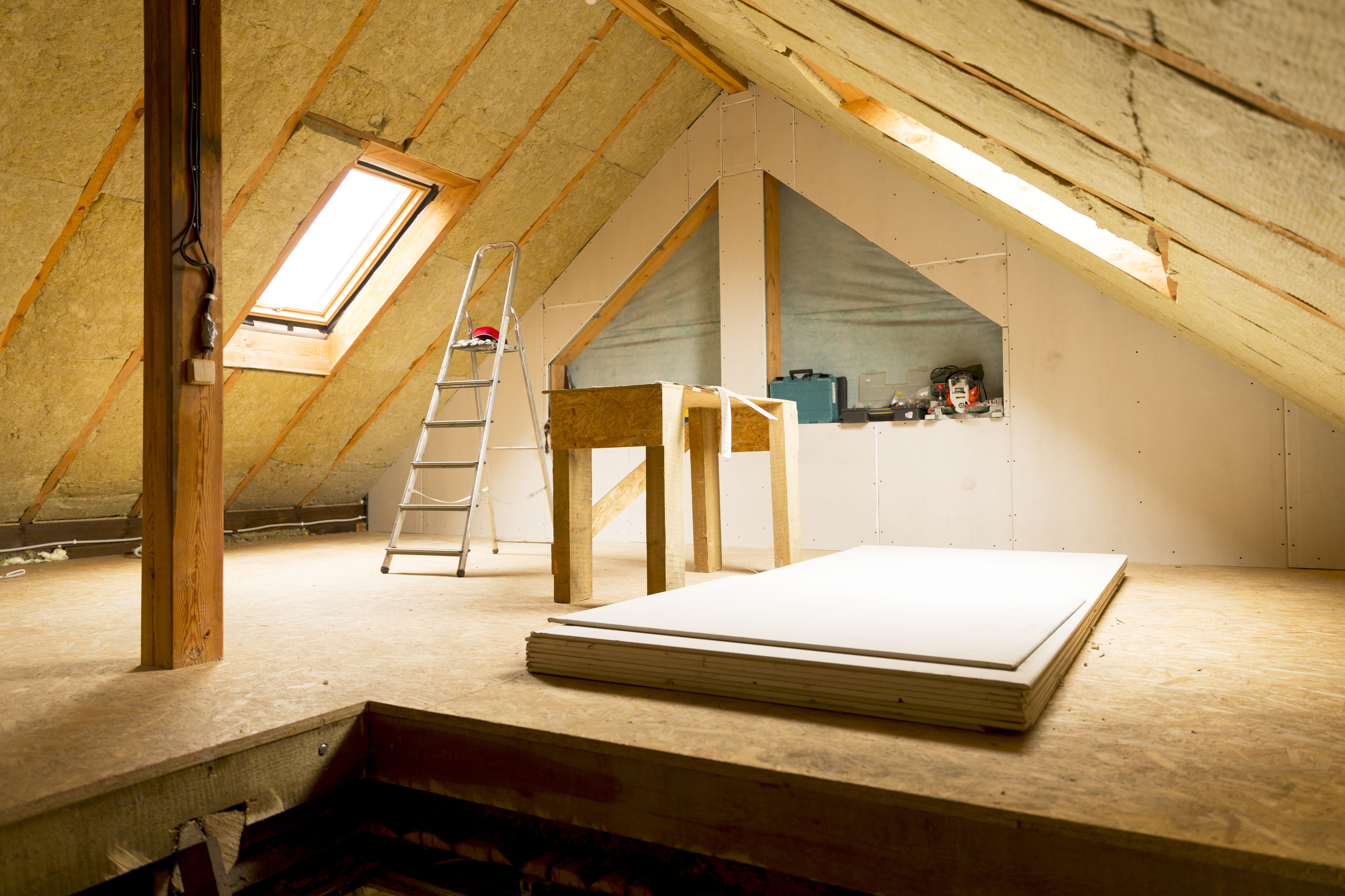 House loft with rock wool insulation