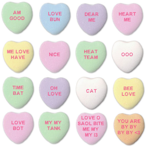 A number of candy hearts bearing funny love messages from an algorithm
