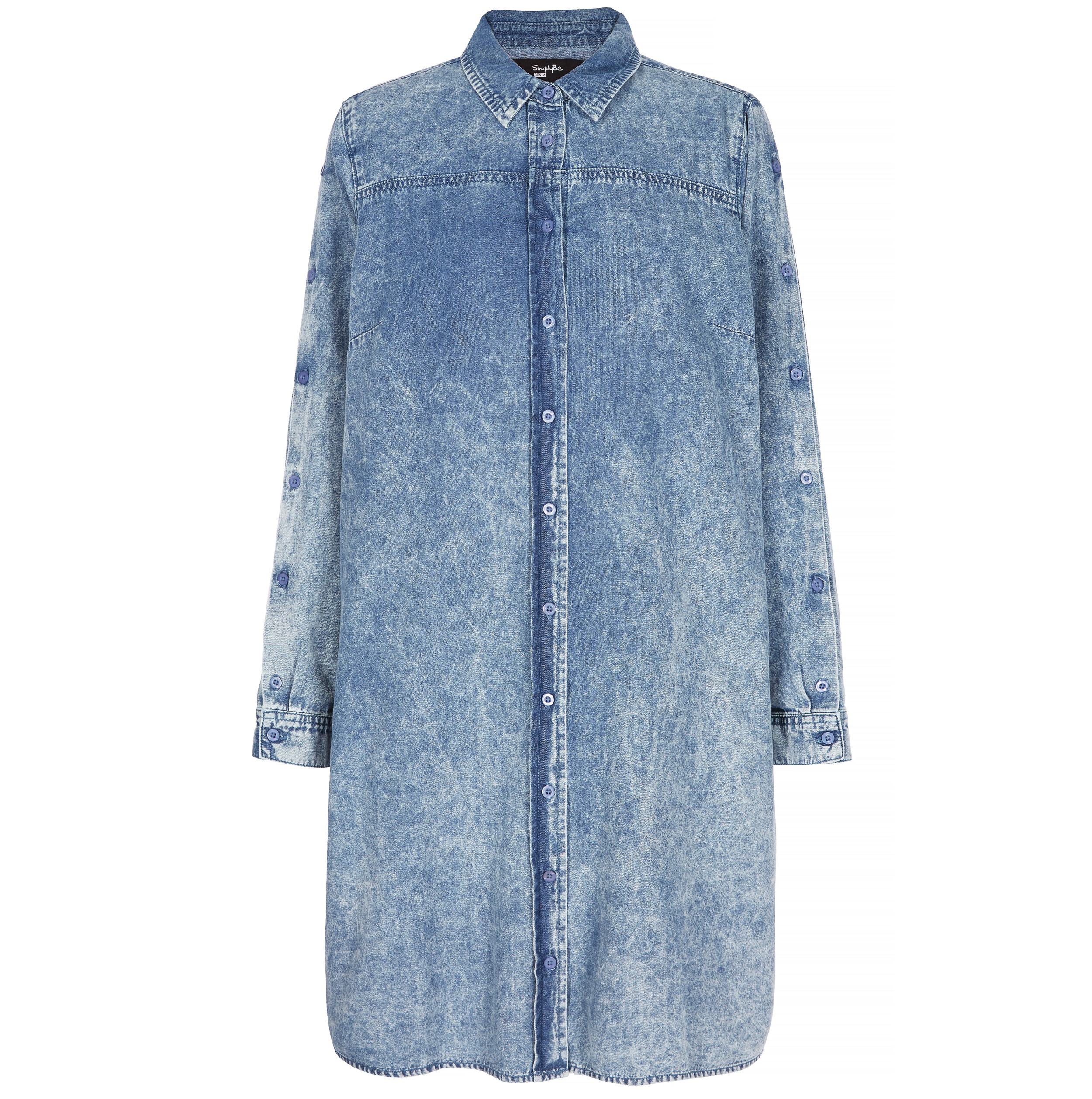 Simply Be Acid Wash Button Sleeve Denim Shirt Dress