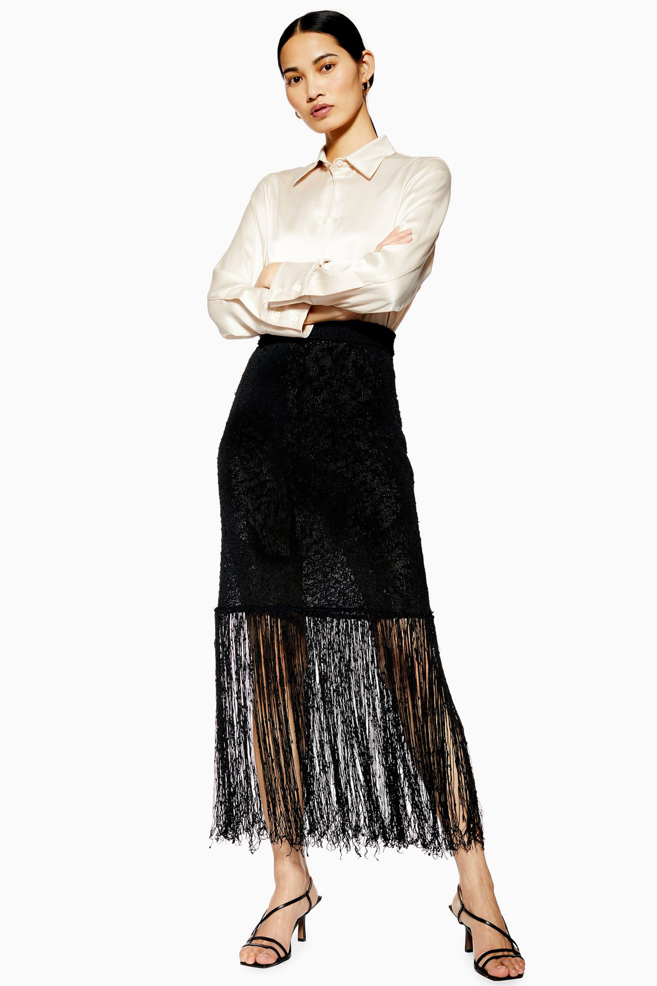 Topshop Boutique Side Split Silk Shirt; Boutique Fringe Knit Skirt