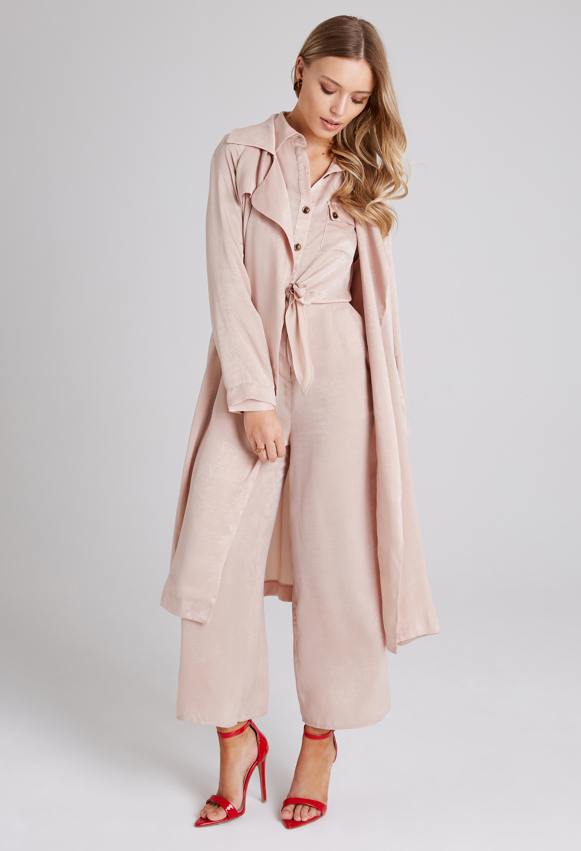 Girls On Film Sovereign Beige Satin Trench Coat; Liquid Beige Utility Jumpsuit