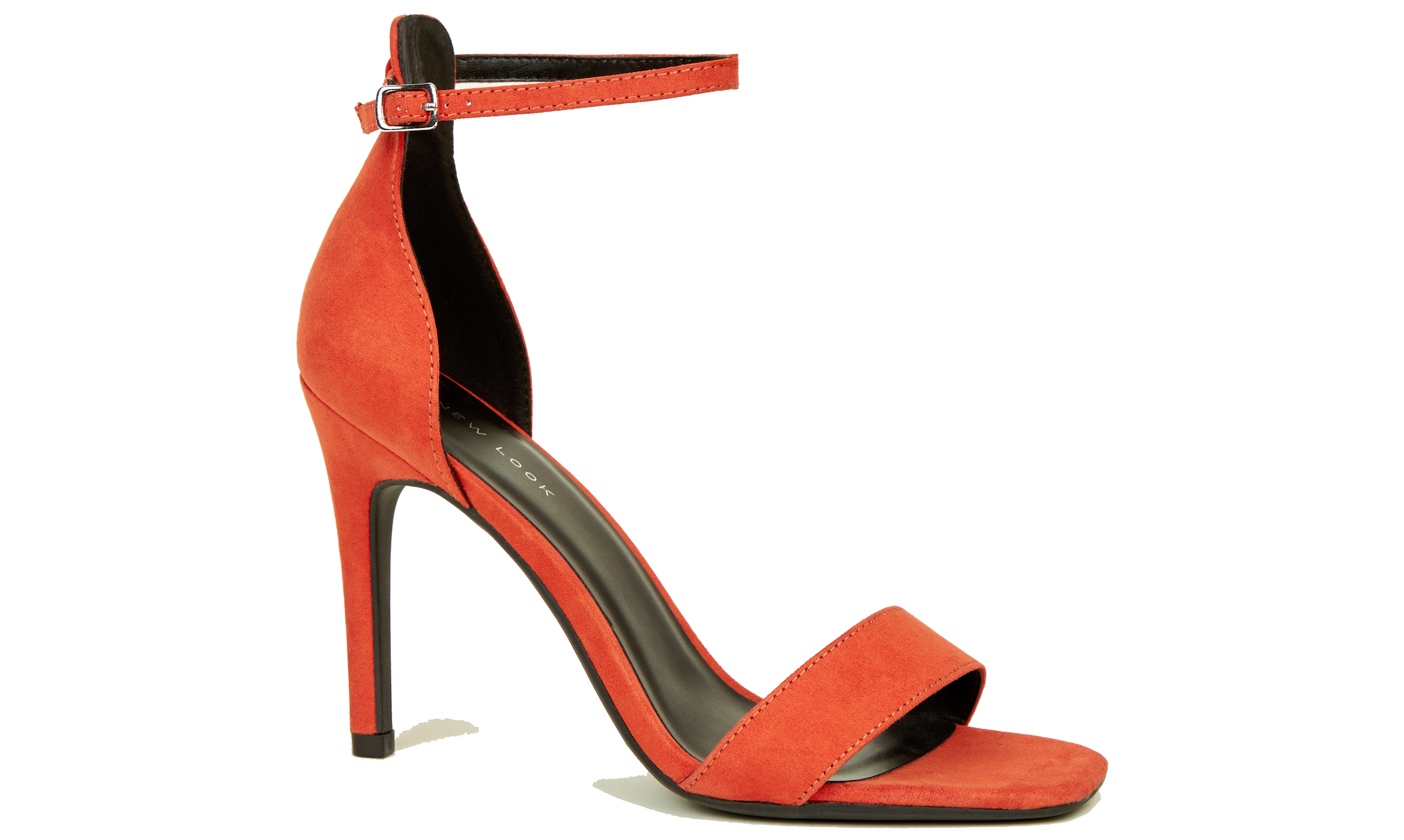 New Look Orange Suedette Square Toe Two Part Sandals