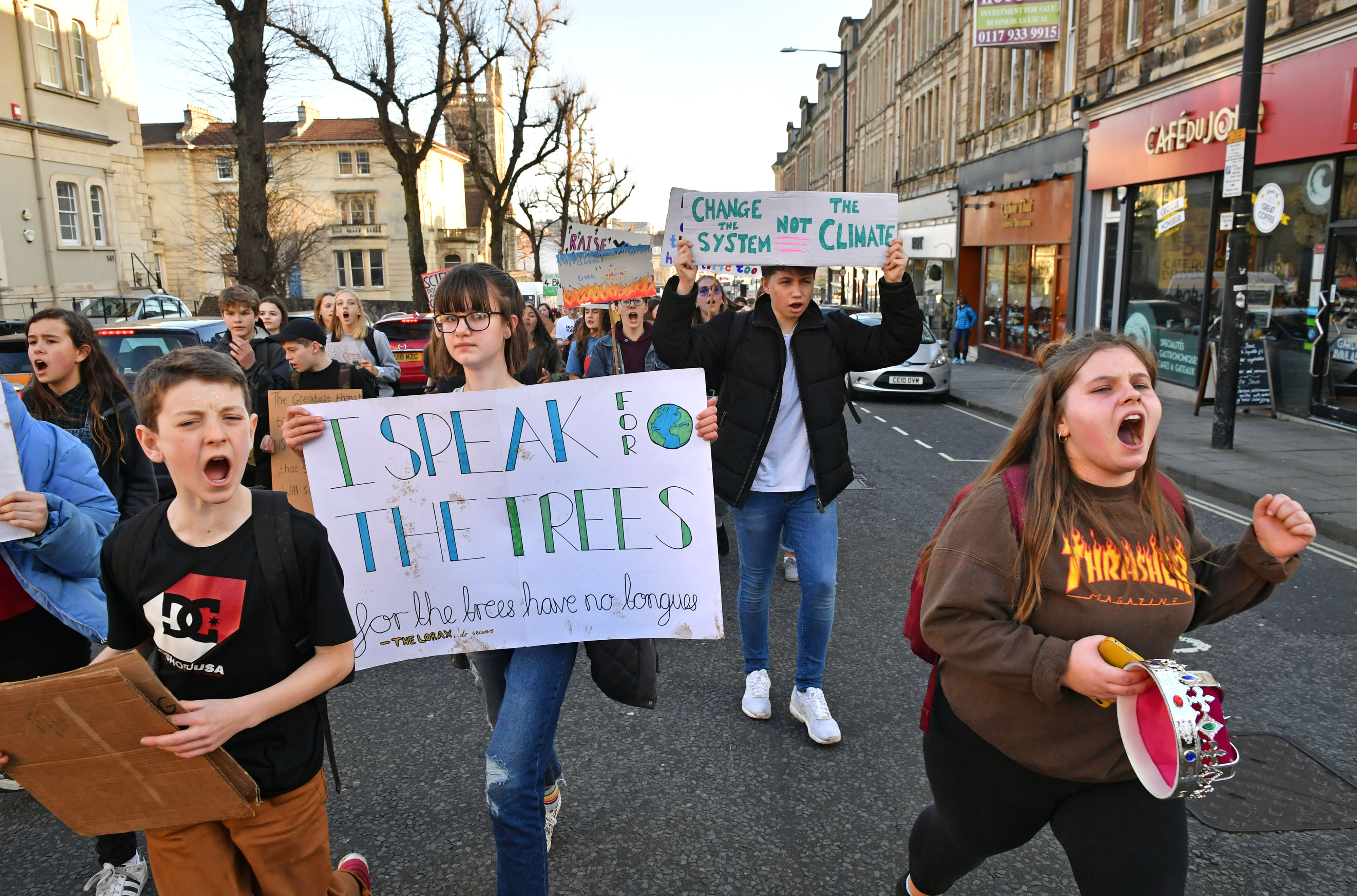 Demonstrators during a climate change protest in Bristol