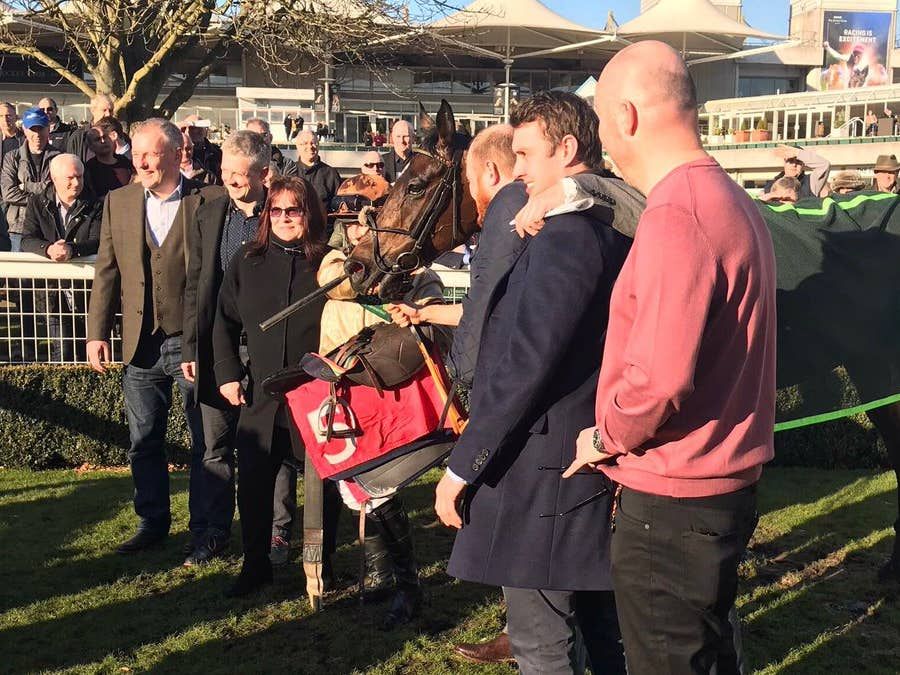 Brodie Hampson with Carlos De Fruitier and winning connections at Sandown (Graham Clark)