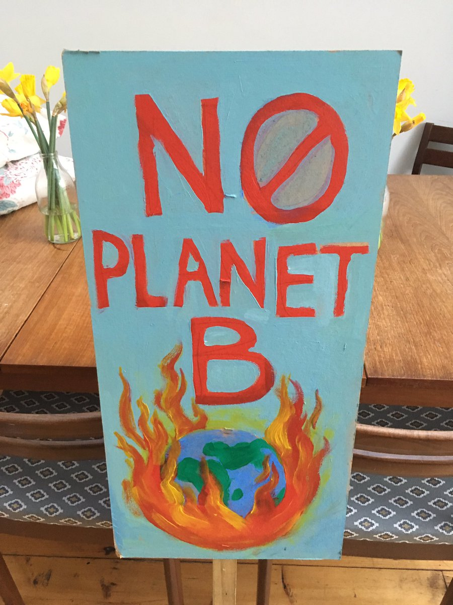 A placard made for a protest regarding climate change
