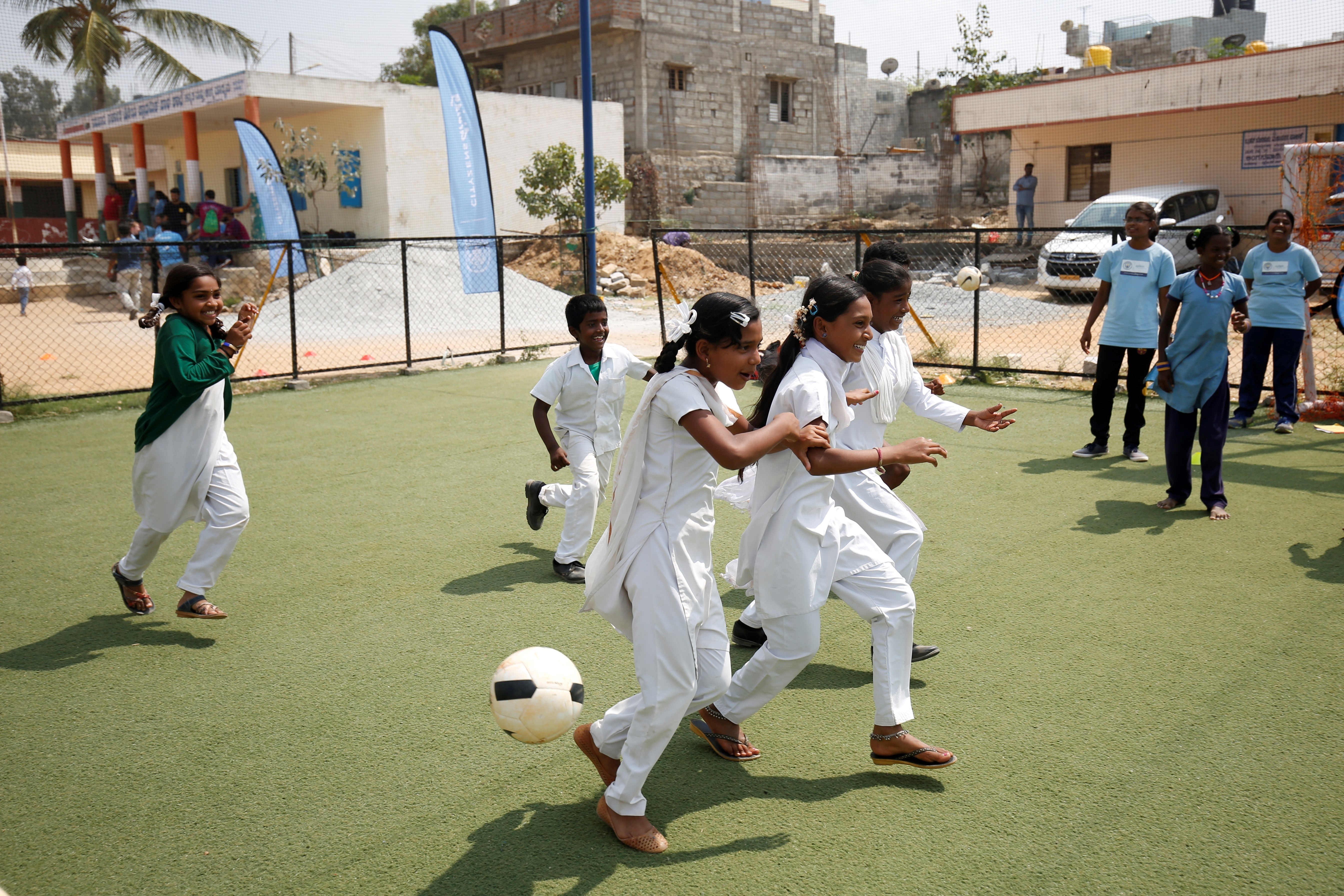 Children take part in a game