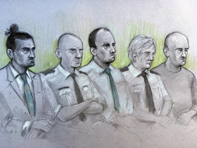 Court artist sketch by Elizabeth Cook of (left to right) David Osborne, male dock officer, Ieuan Harley, female dock officer and Darran Evesham, during their trail at Newport Crown Court for their part in the murder of convicted child killer David Gaut.