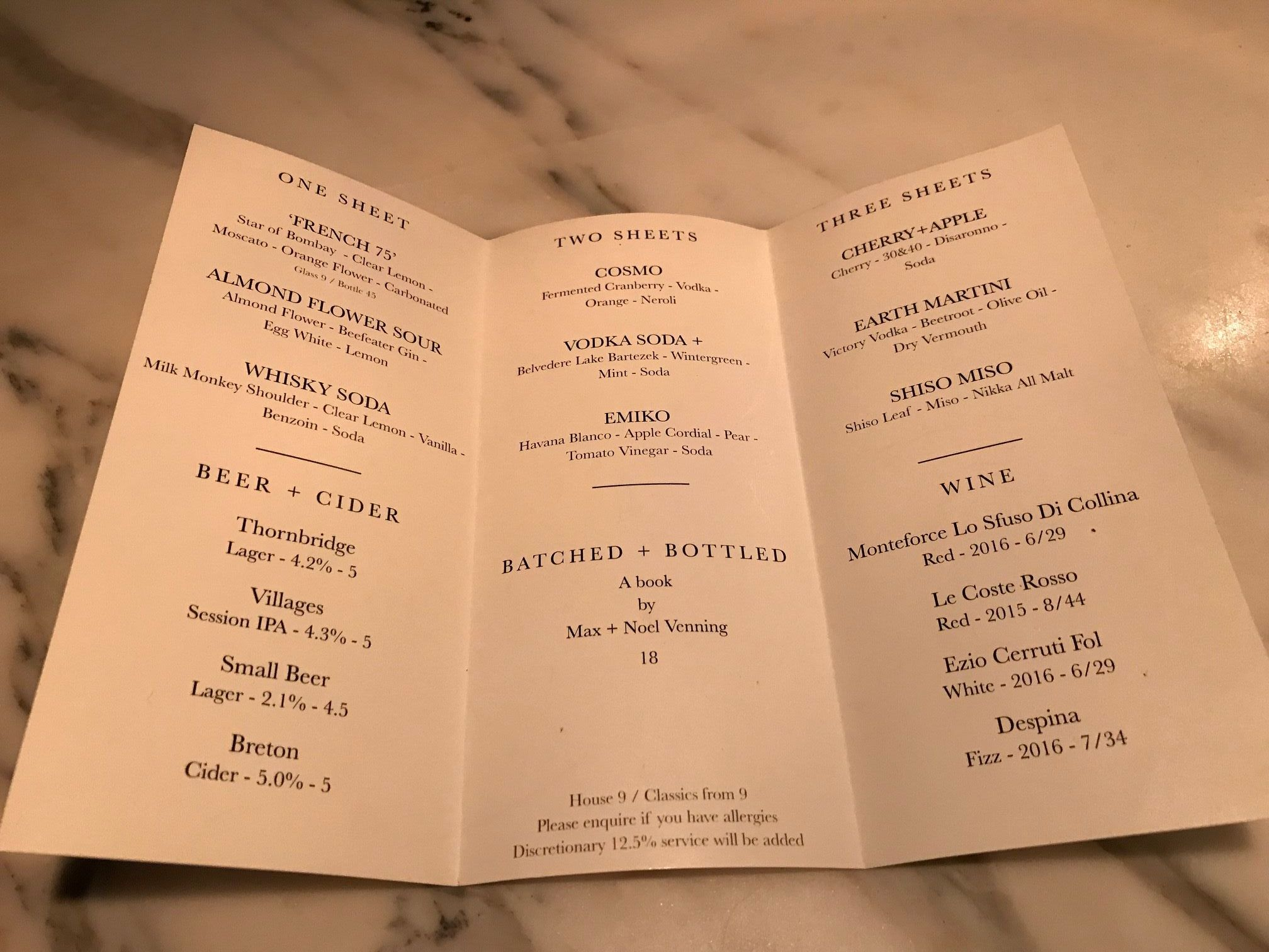 Three Sheets cocktail list