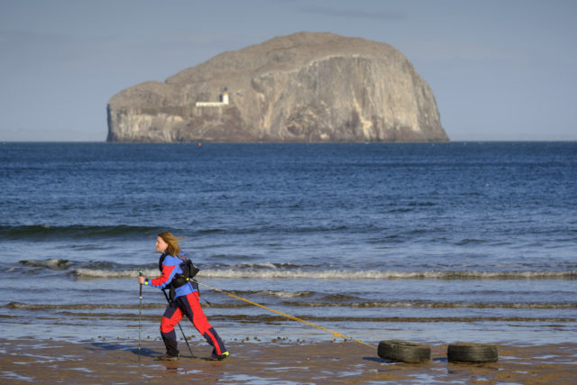 Adventurer Mollie Hughes training on the beach