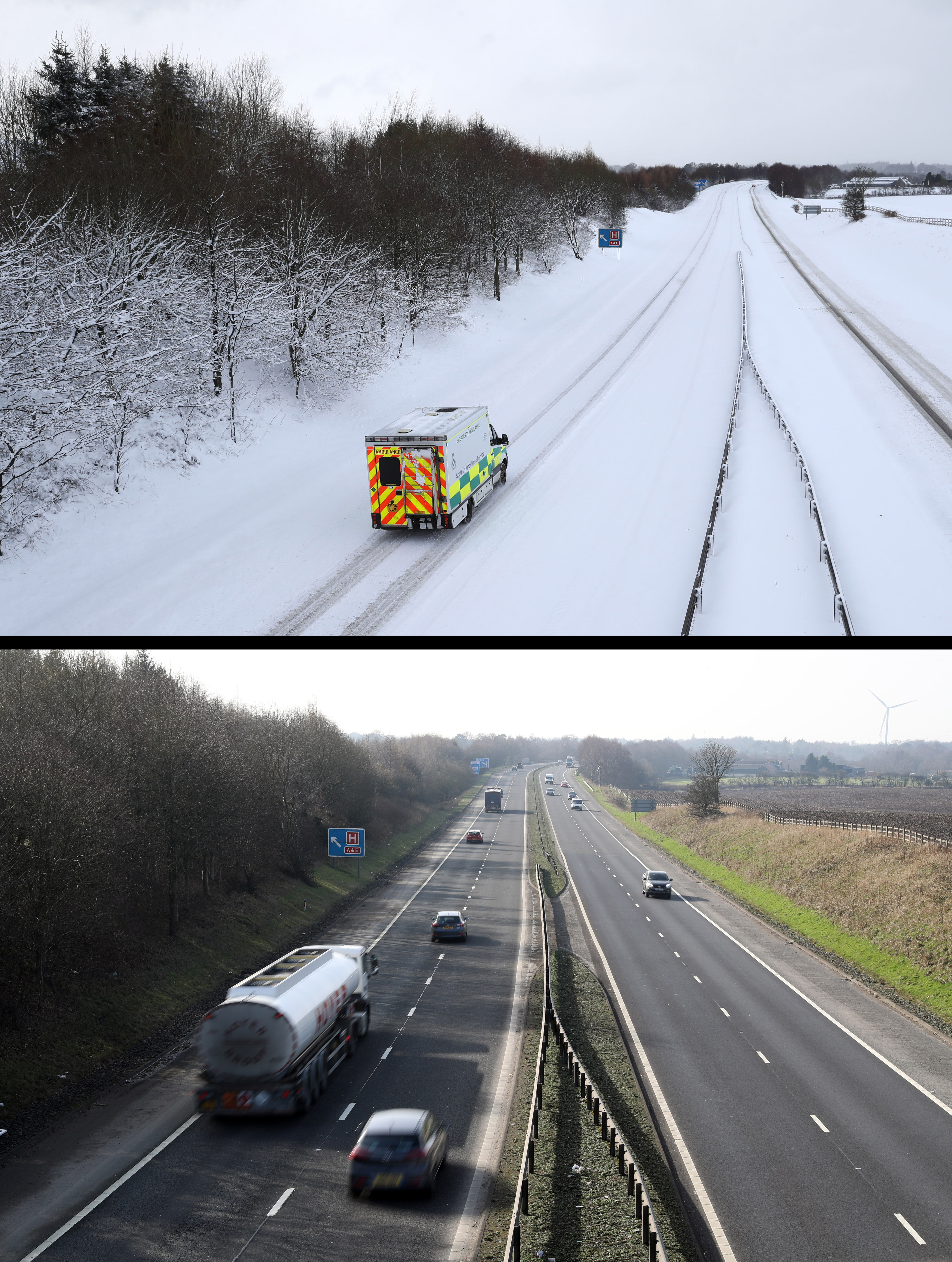 Composite photo of the M876 motorway in Scotland on 03/01/18 (top), during the Beast from the East, and the same view on 26/02/19, as Britain experienced record-breaking temperatures after Tuesday became the warmest winter day on record