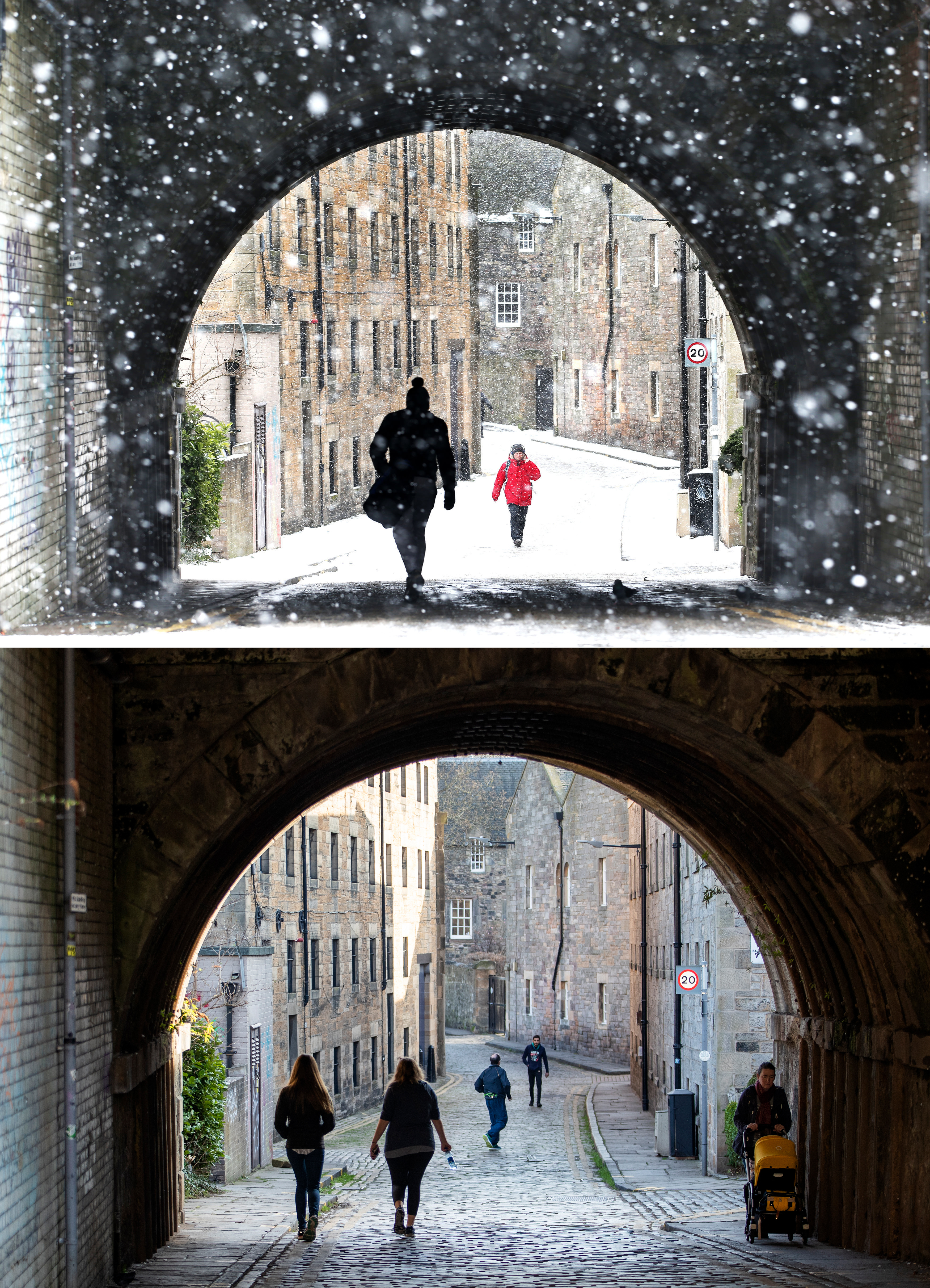 Composite photos of the view through the Croft An Righ in Holyrood, Edinburgh on 28/02/18 (top), during the Beast from the East, and the same view on 26/02/19, as Britain experienced record-breaking temperatures after Tuesday became the warmest winter day on record