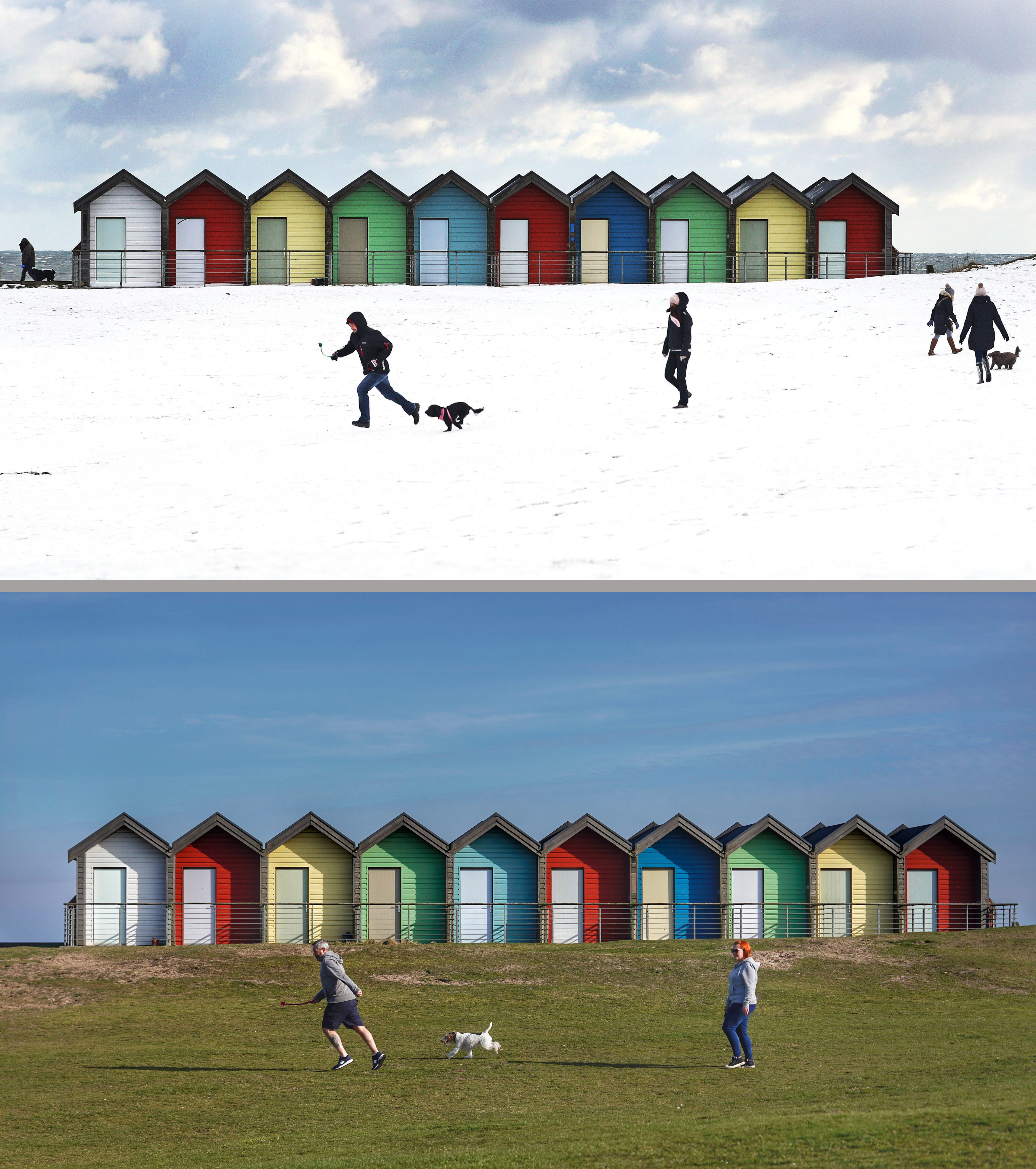 Composite photo of people walking their dogs on Blyth Beach in Northumberland on 27/02/18 (top), during the Beast from the East, and the same view on 25/02/19 as Britain experienced record-breaking temperatures after Tuesday became the warmest winter day on record
