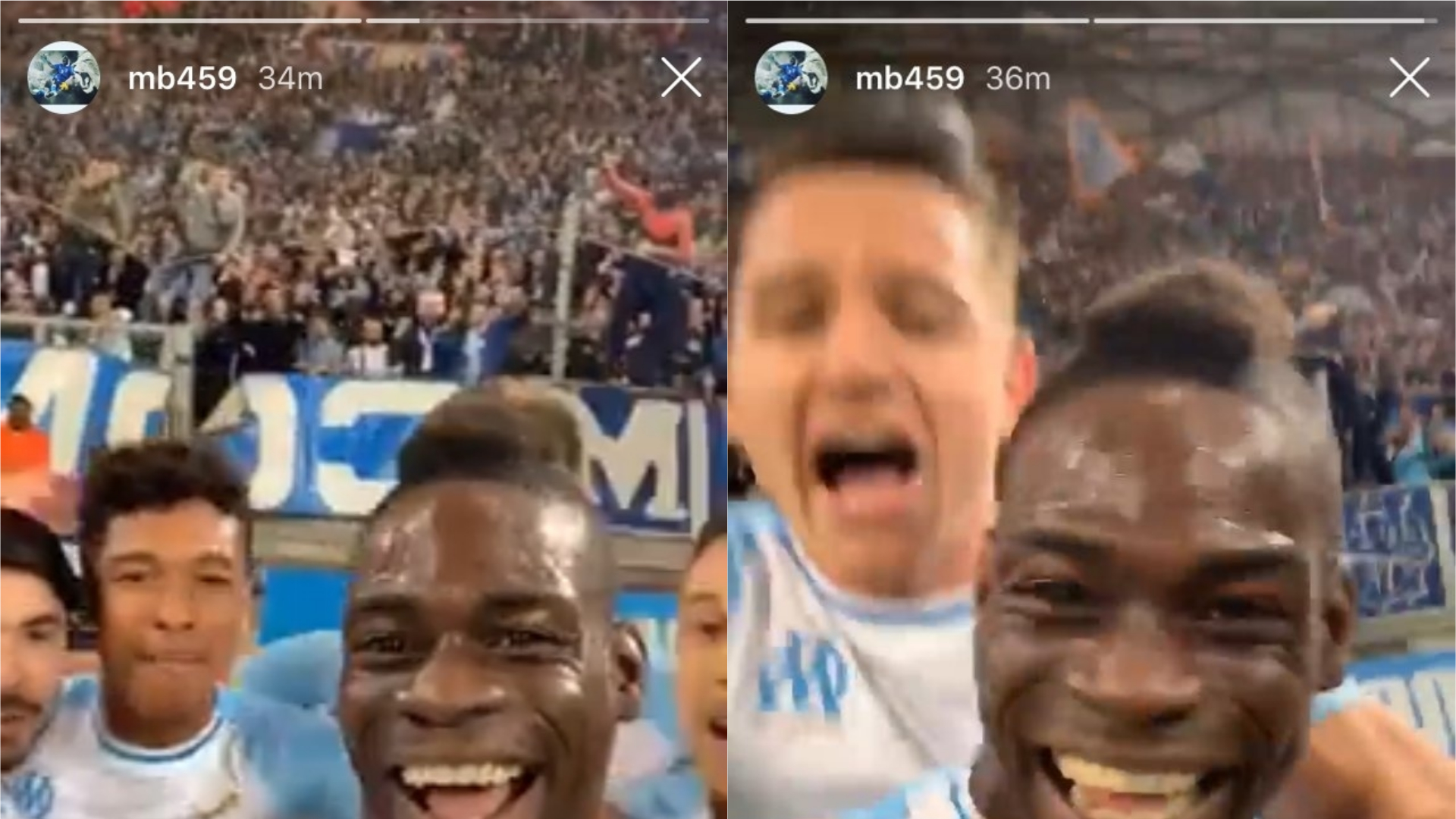 Mario Balotelli celebrates scoring a goal for Marseille by going live on Instagram