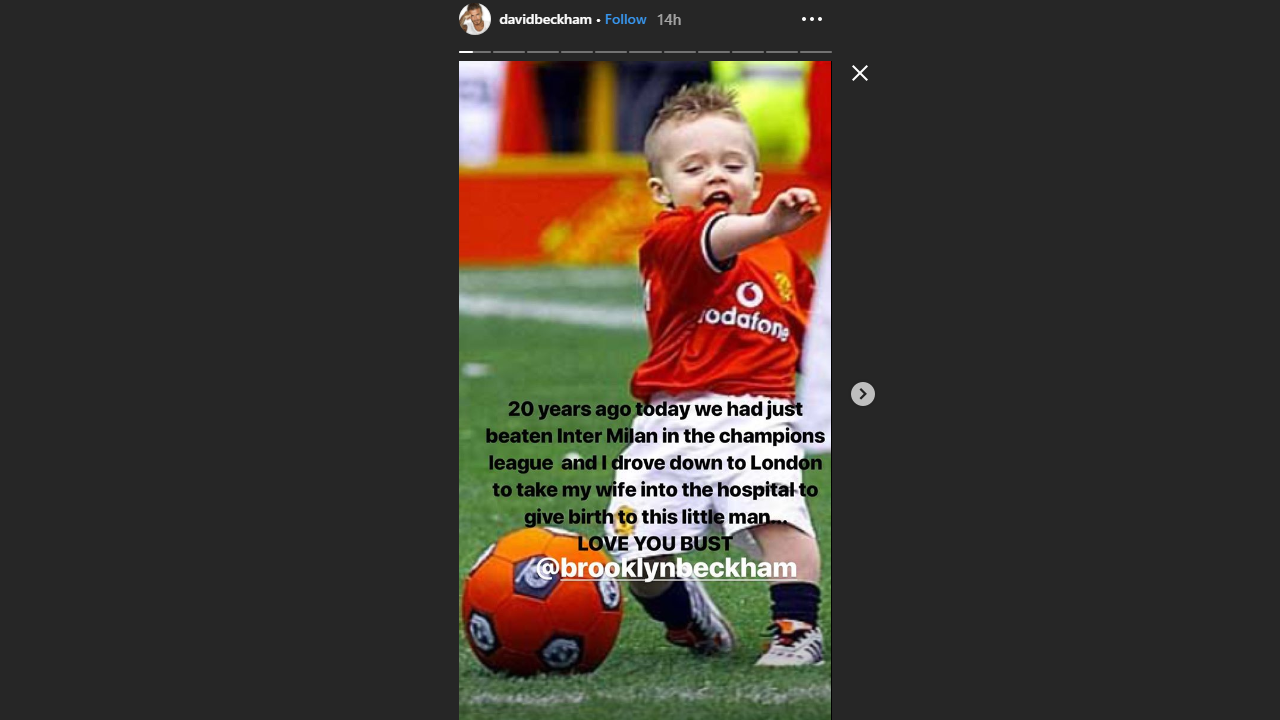 Image from David Beckham's Instagram Story
